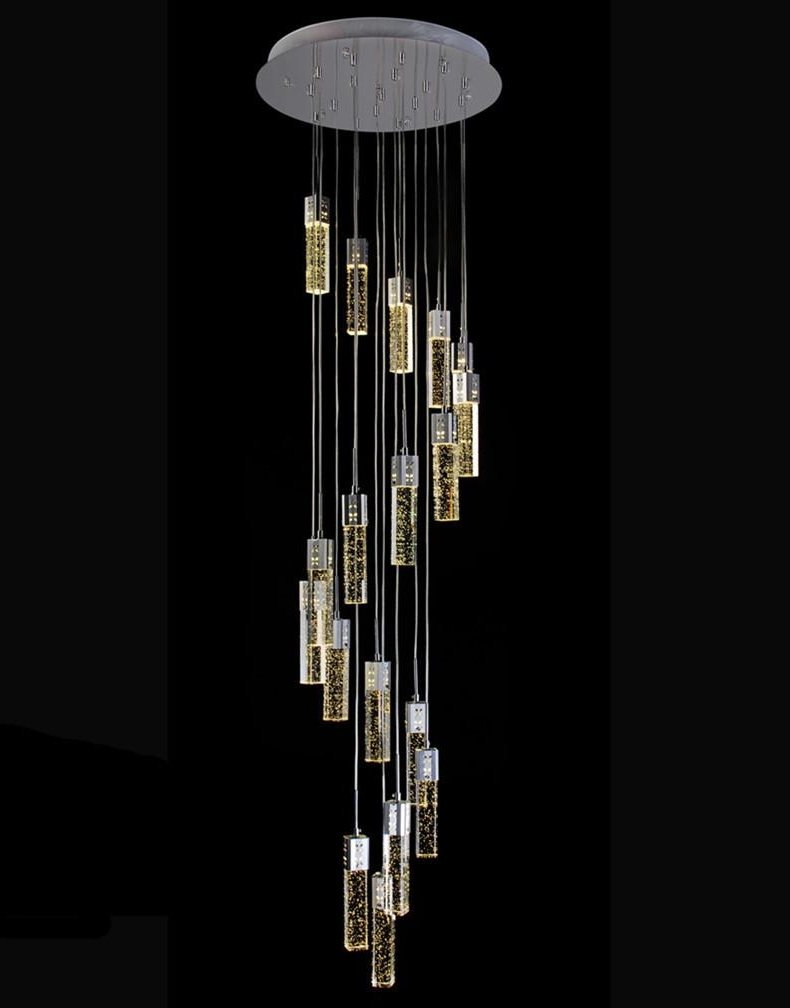 Stairwell Chandeliers Intended For 2018 Stairwell Led Luminaria Long Bubble Crystal Chandelier Lighting (View 13 of 20)