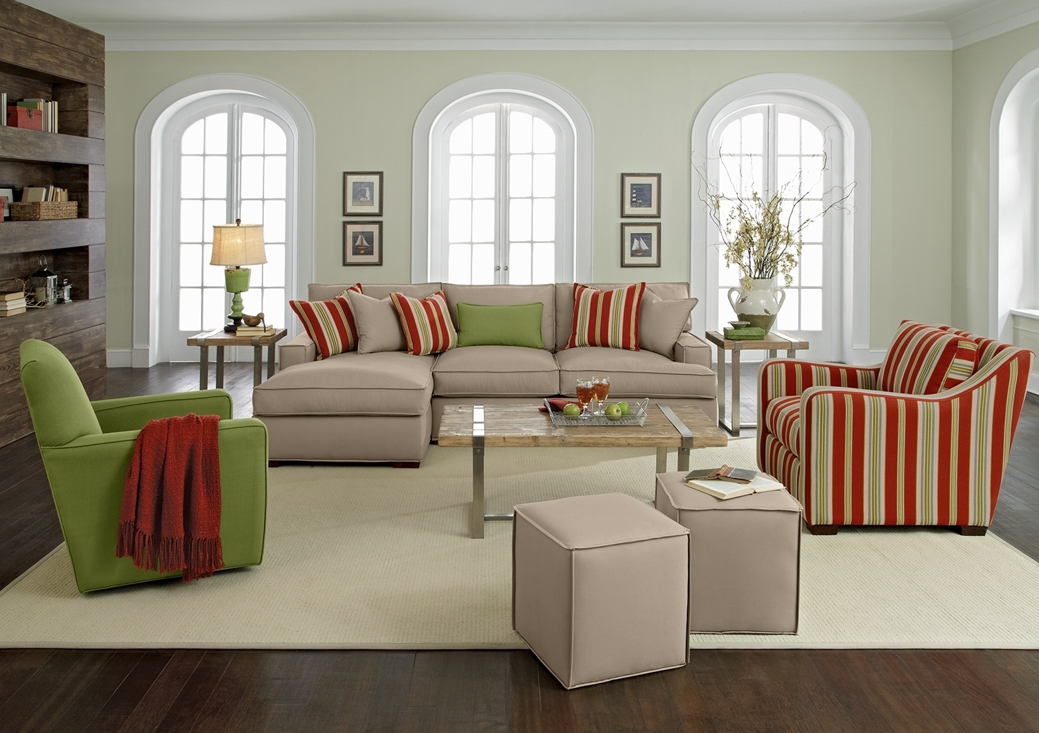 Striped Sofas And Chairs Throughout Latest Furniture: Modern White Couch And Sofa With Glass Top Coffee Table (View 18 of 20)