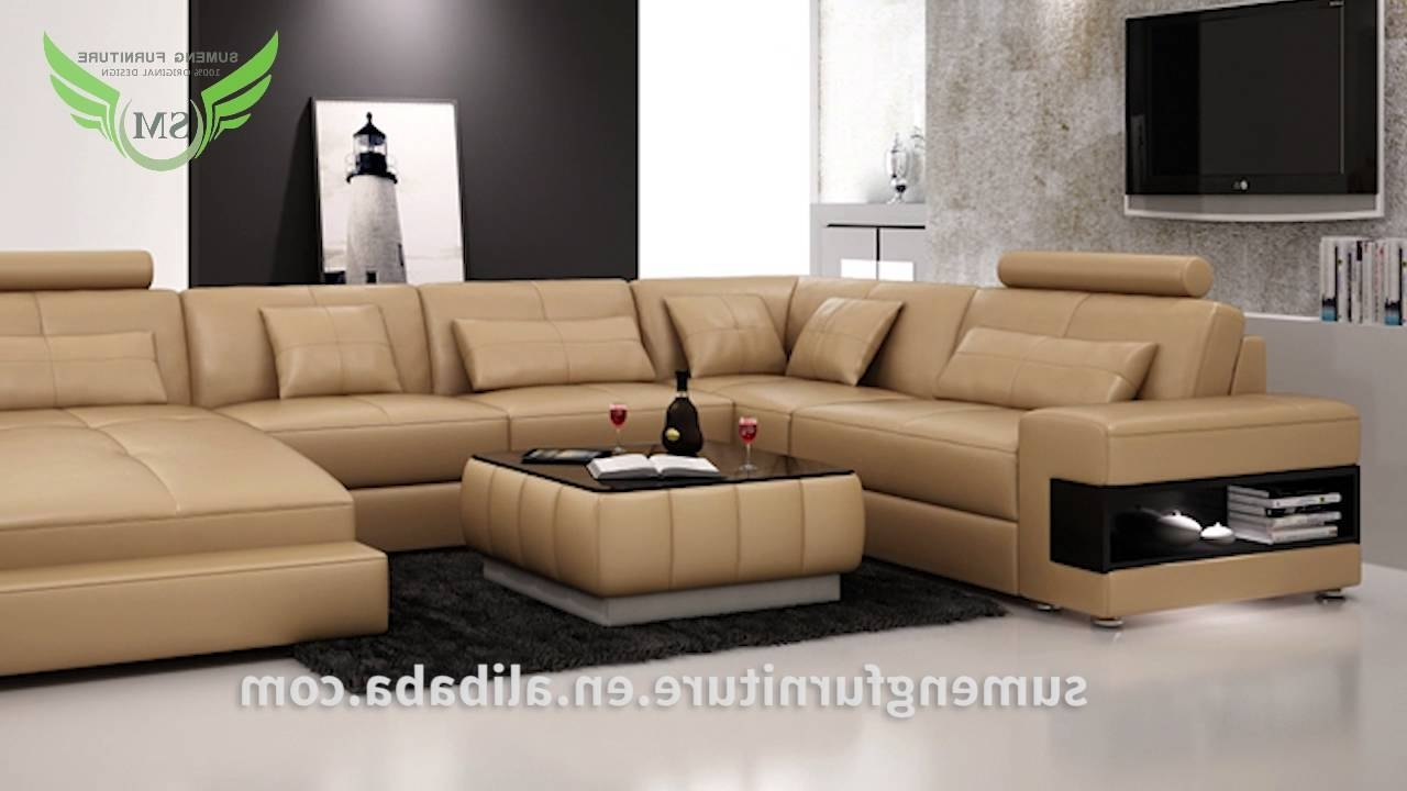Sumeng Modern Leather U Shape Sofa – Youtube Inside Popular U Shaped Sectionals (View 15 of 20)