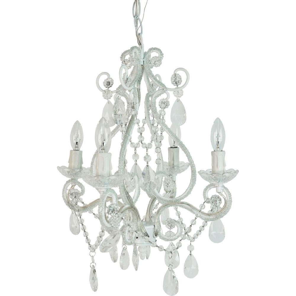 Tadpoles 4 Light White Mini Chandelier Cchapl410 – The Home Depot For 2018 Small White Chandeliers (View 18 of 20)
