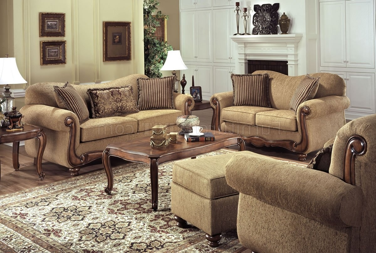 Tan Fabric Traditional Sofa & Loveseat Set W/throw Pillows Regarding Most Recent Traditional Sofas And Chairs (View 18 of 20)