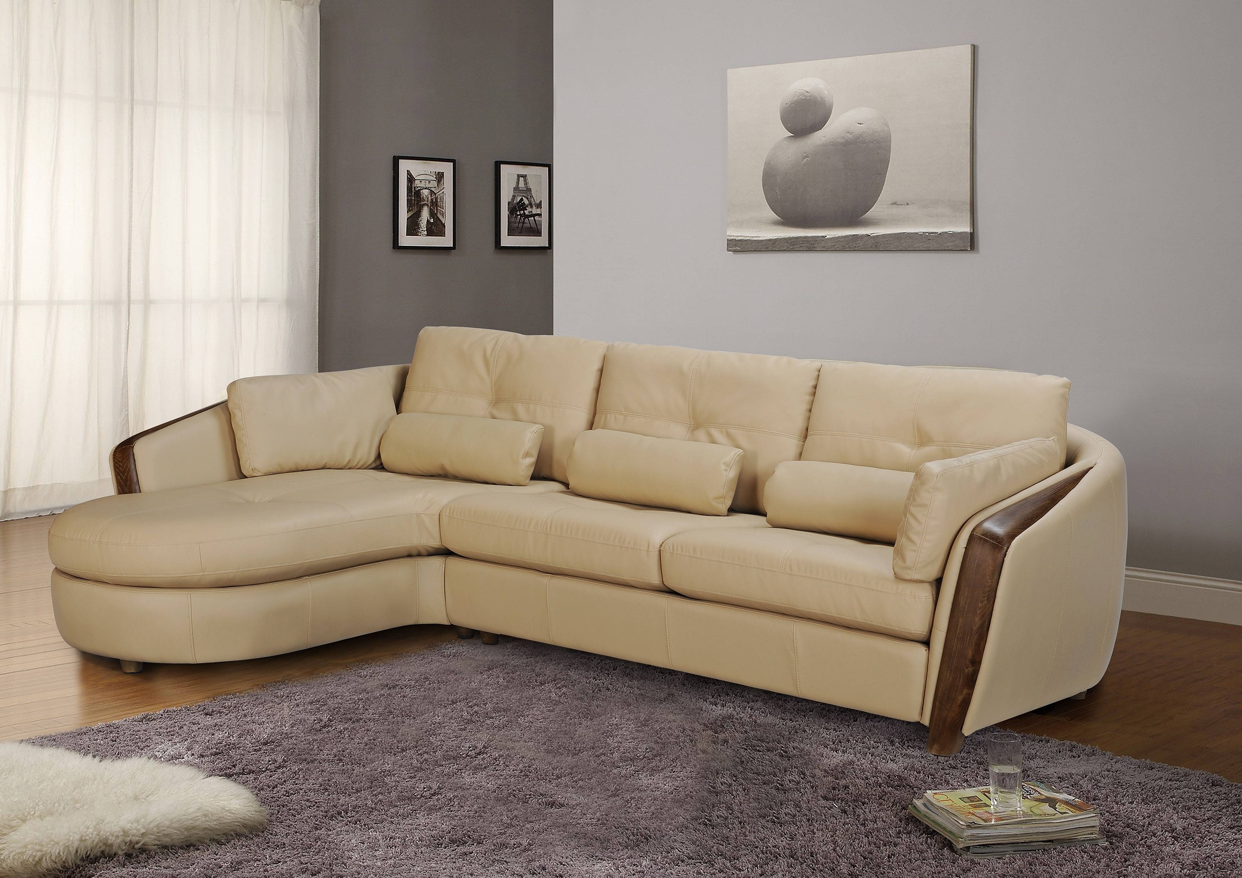 Taupe Bonded Leather Sectional Sofa With Ash Wood Accent Baltimore With Regard To Trendy Ontario Sectional Sofas (View 19 of 20)