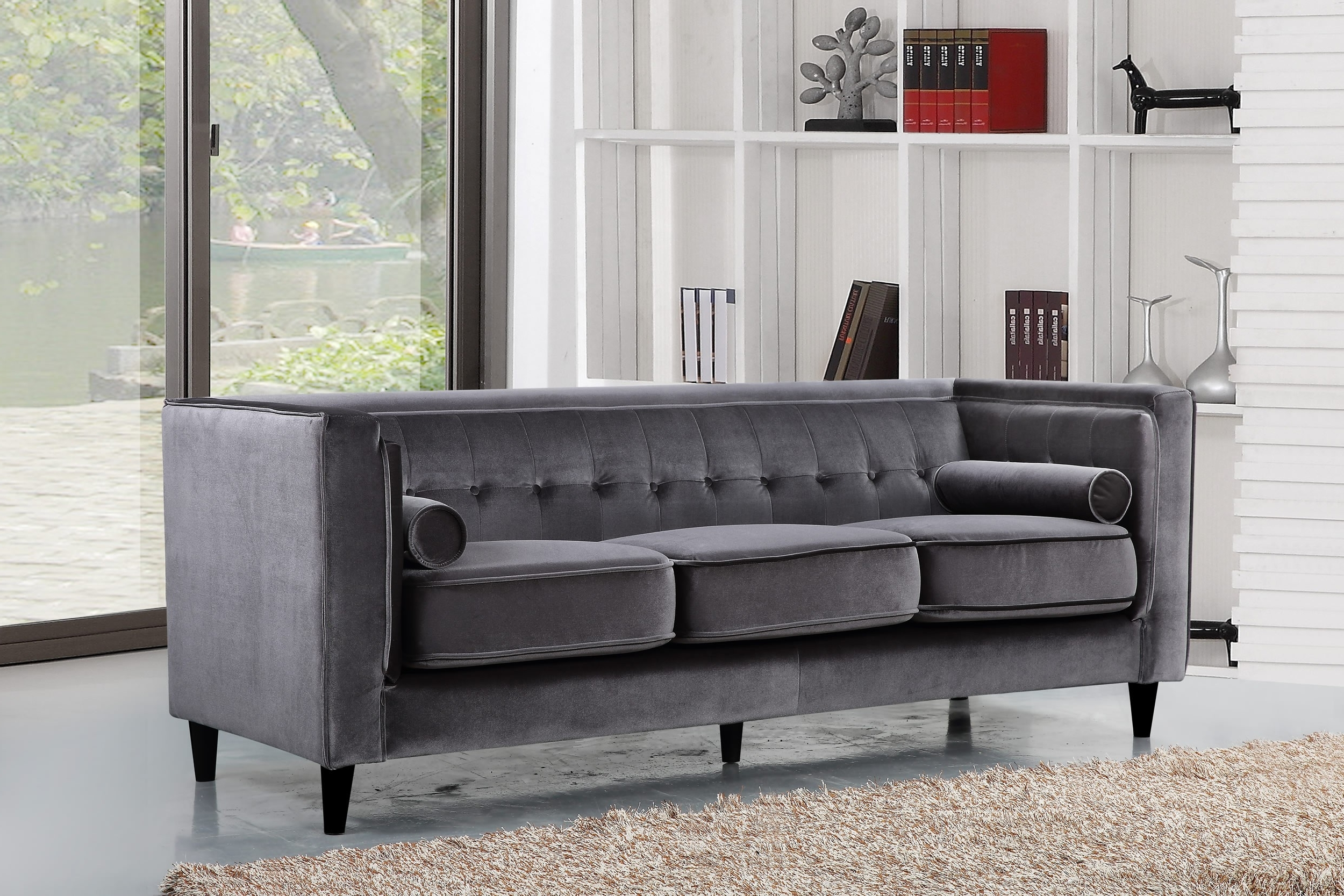 Taylor Velvet Sofa, Grey Buy Online At Best Price – Sohomod Intended For Widely Used Velvet Sofas (View 11 of 20)
