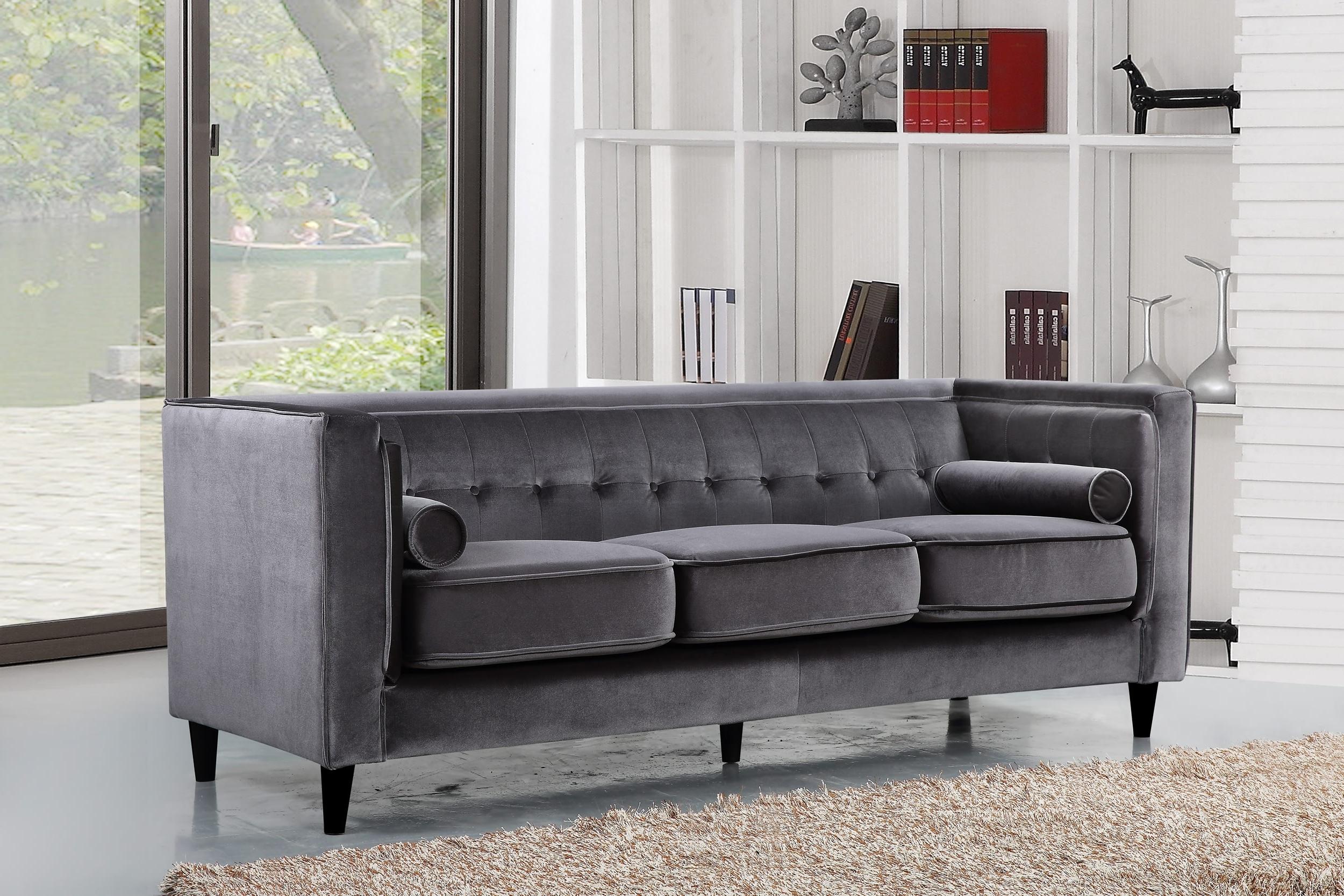 Taylor Velvet Sofa, Grey Buy Online At Best Price – Sohomod Intended For Widely Used Velvet Sofas (View 11 of 20)