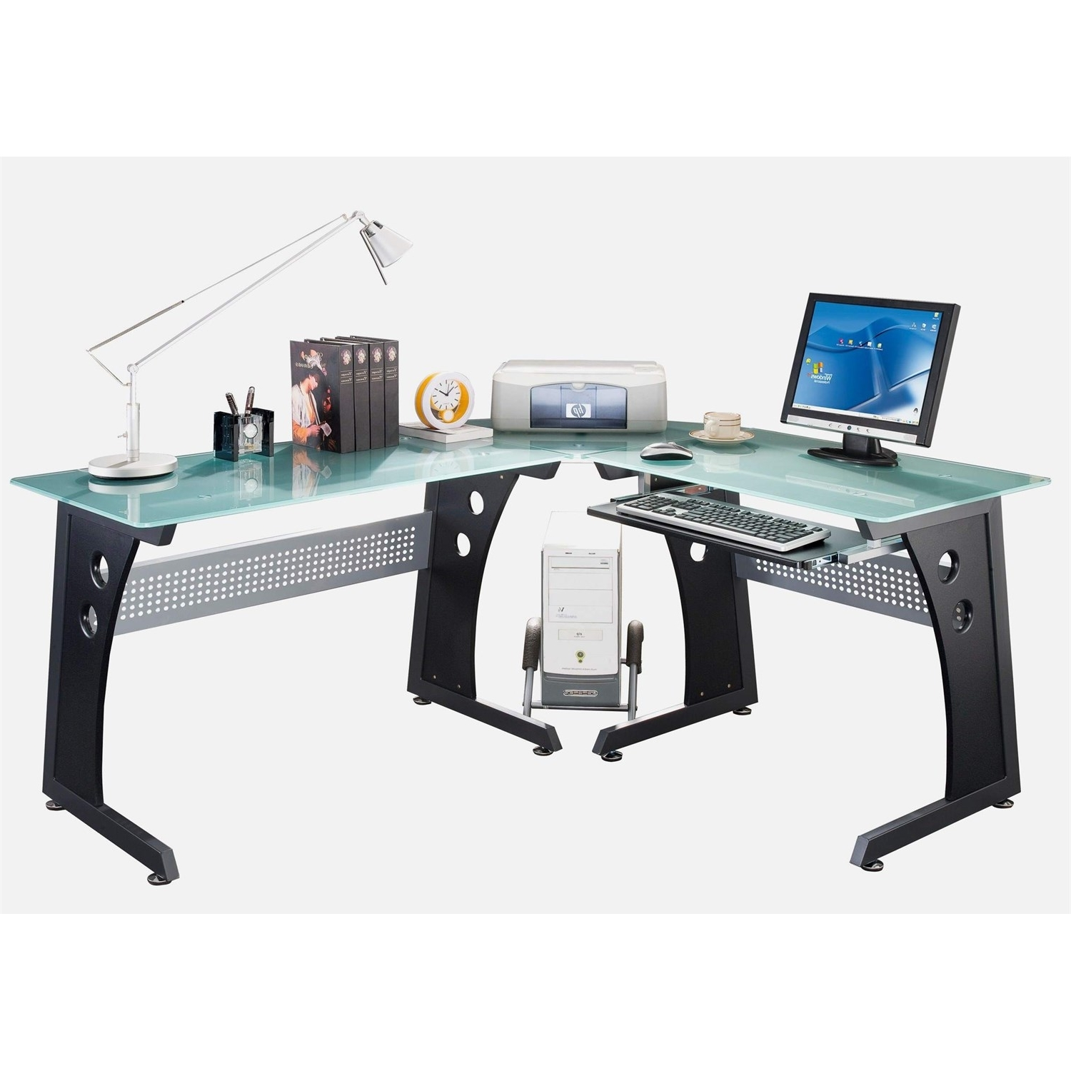 Techni Mobili Rta 3803 Gph06 L Shaped Glass Computer Desk In In Recent Glass Computer Desks (View 15 of 20)