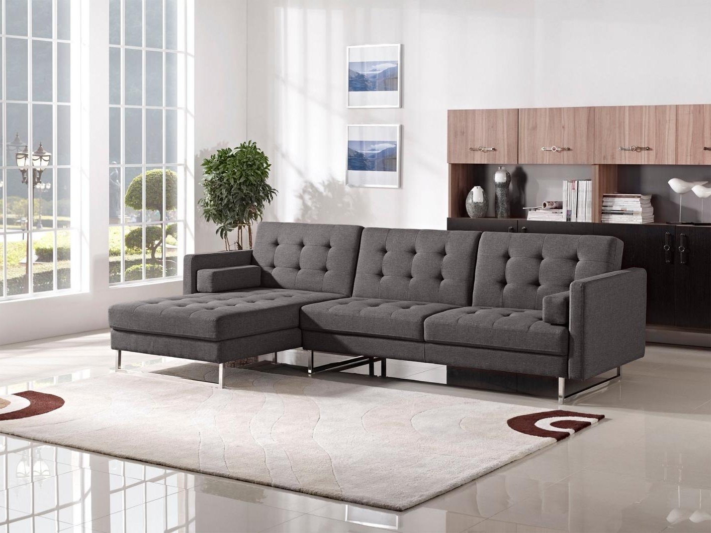 The Bay Sectional Sofas With Regard To Popular Modern L Shaped White Leather Sectional Sofa Bed Chrome Metal Base (Gallery 8 of 20)
