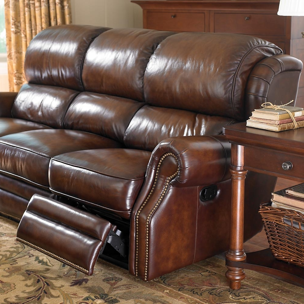 The Leather Newbury Motion Sofabassett Furniture Features For Recent Sectional Sofas With Nailheads (View 17 of 20)