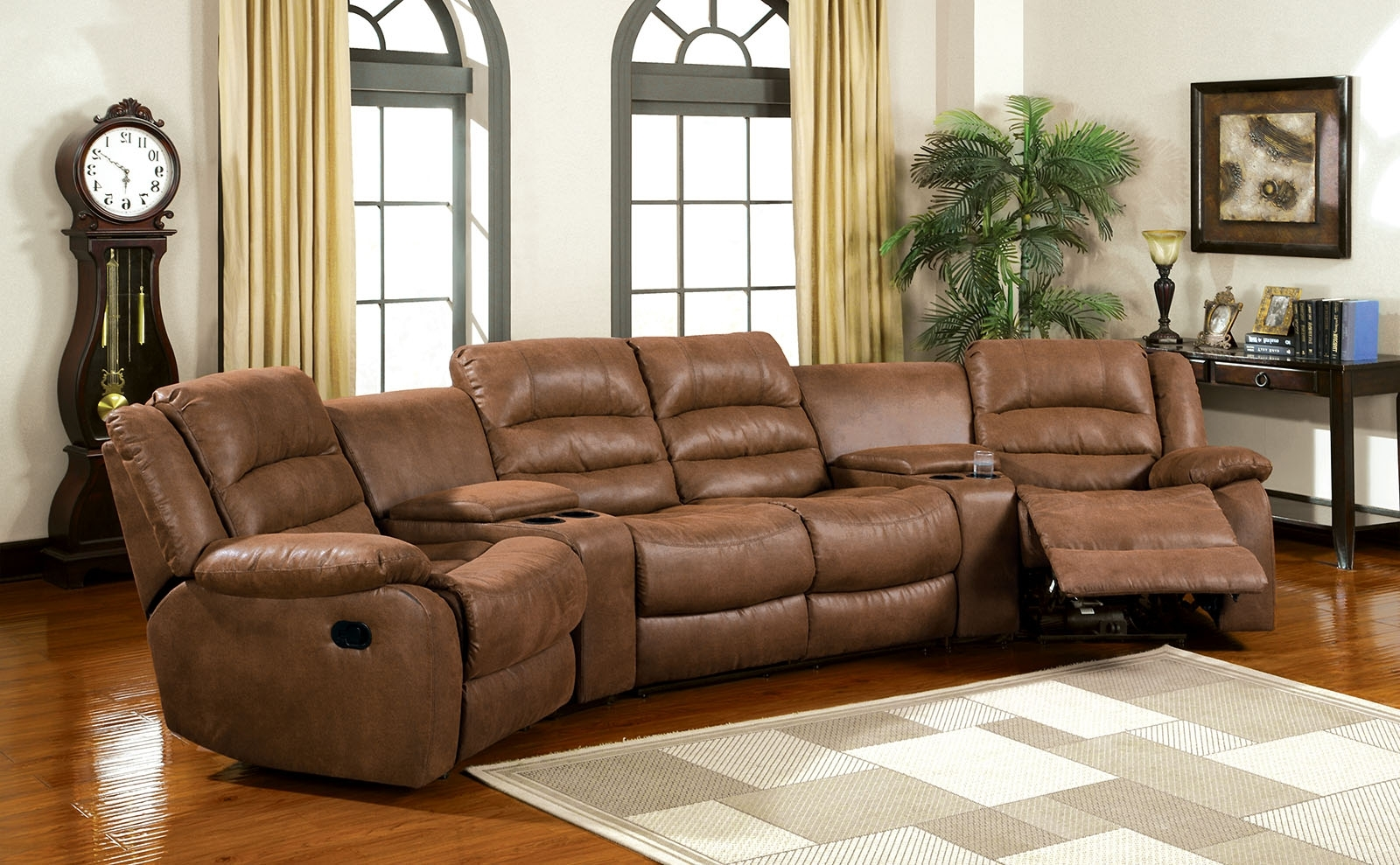 Theatre Sectional Sofas Pertaining To Popular Furniture Of America Cm6123 Manchester Brown Leather Like Fabric  (View 11 of 20)