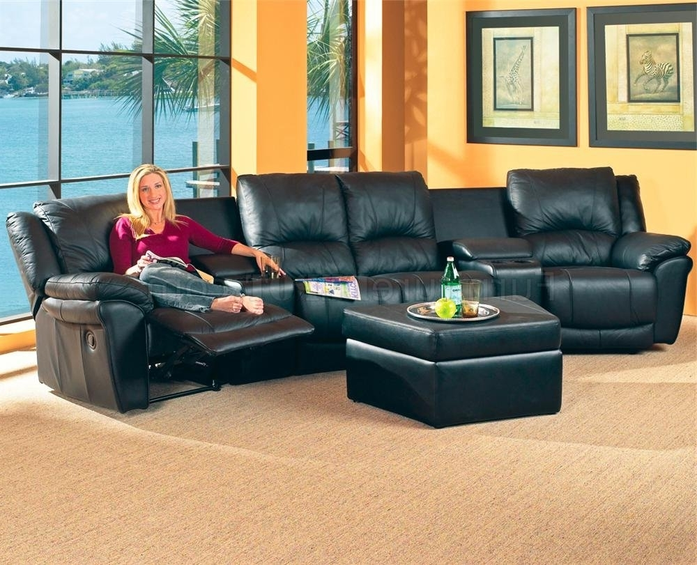 Theatre Sectional Sofas With Regard To Popular Black Bonded Leather Match Modern Home Theater Sectional Sofa (View 14 of 20)