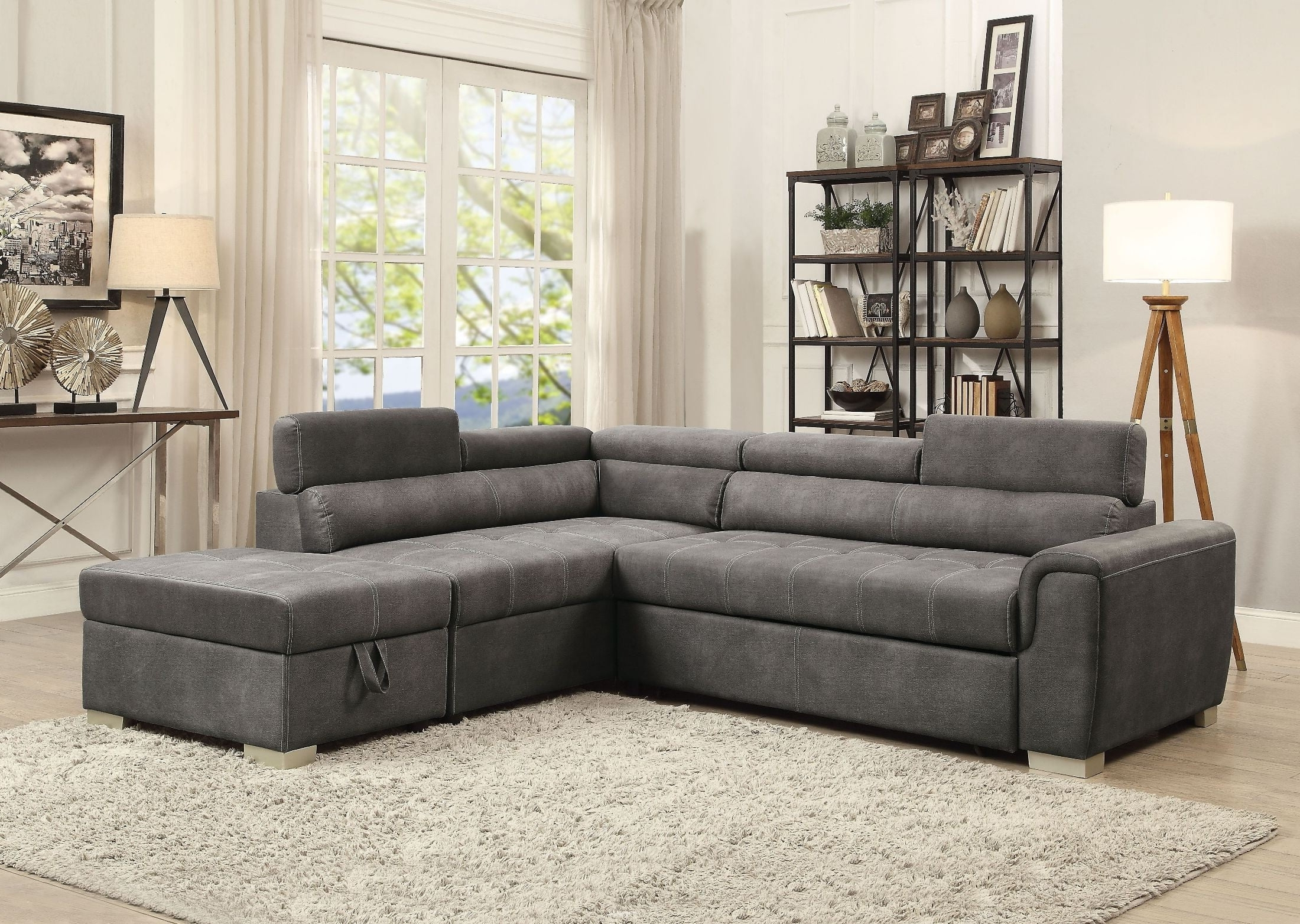 Thelma Gray Polished Sectional Sleeper Sofa With Ottoman From Acme Pertaining To Most Current Sectional Sofas At Barrie (View 9 of 20)