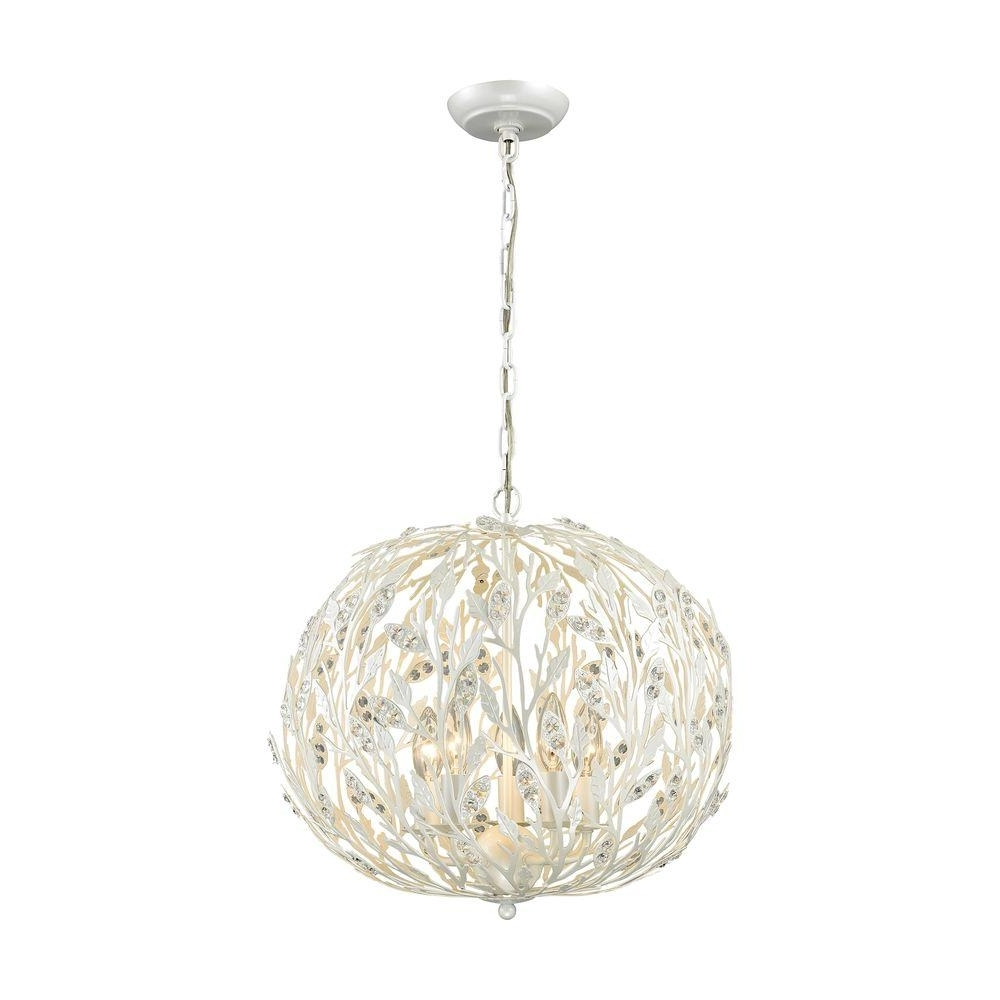 Titan Lighting Trella 5 Light Pearl White Chandelier Tn 75671 – The Inside Most Recently Released White Chandelier (View 12 of 20)