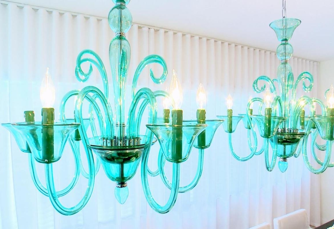 Top 42 Phenomenal Green Glass Chandeliers Awesome Turquoise Blue Inside Well Liked Turquoise Blue Glass Chandeliers (View 16 of 20)