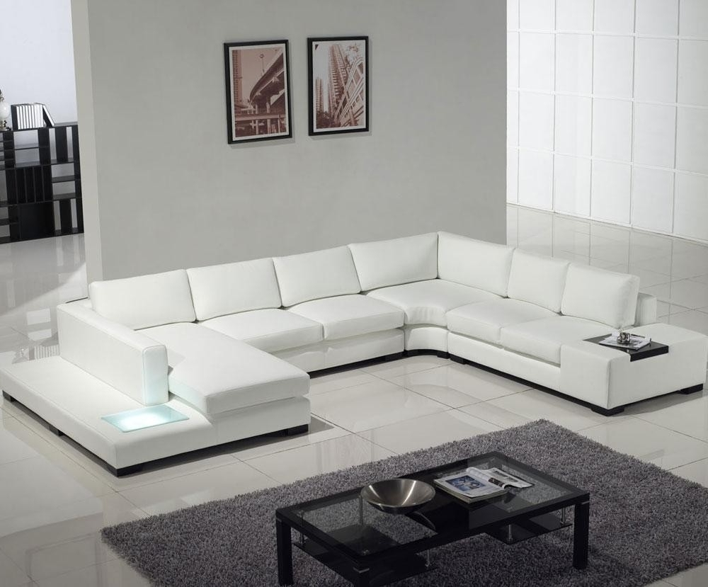Tosh Modern Leather Sectional Sofa With Built In Light (View 18 of 20)