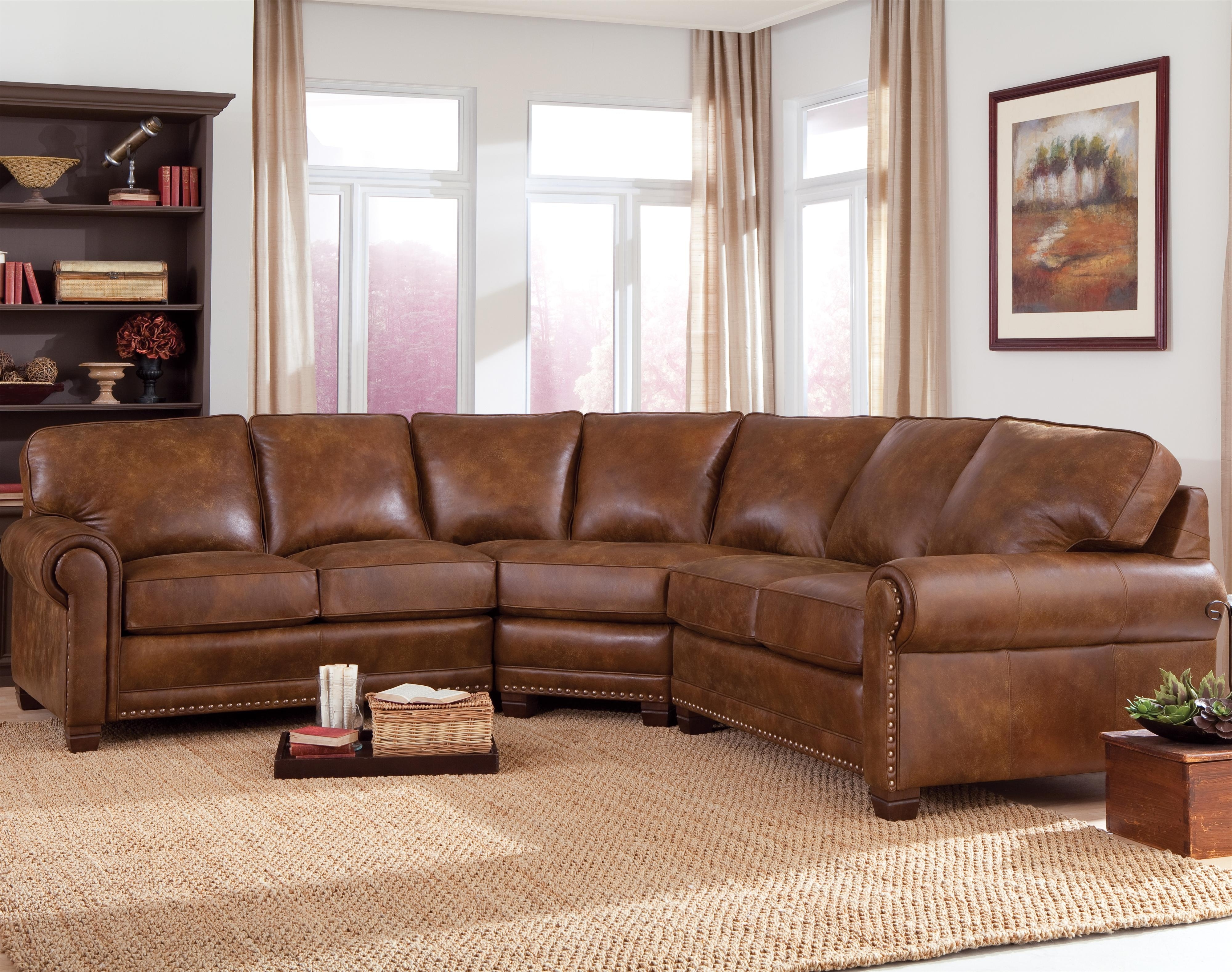 Traditional 3 Piece Sectional Sofa With Nailhead Trimsmith Intended For Popular Sectional Sofas With Nailhead Trim (View 8 of 20)