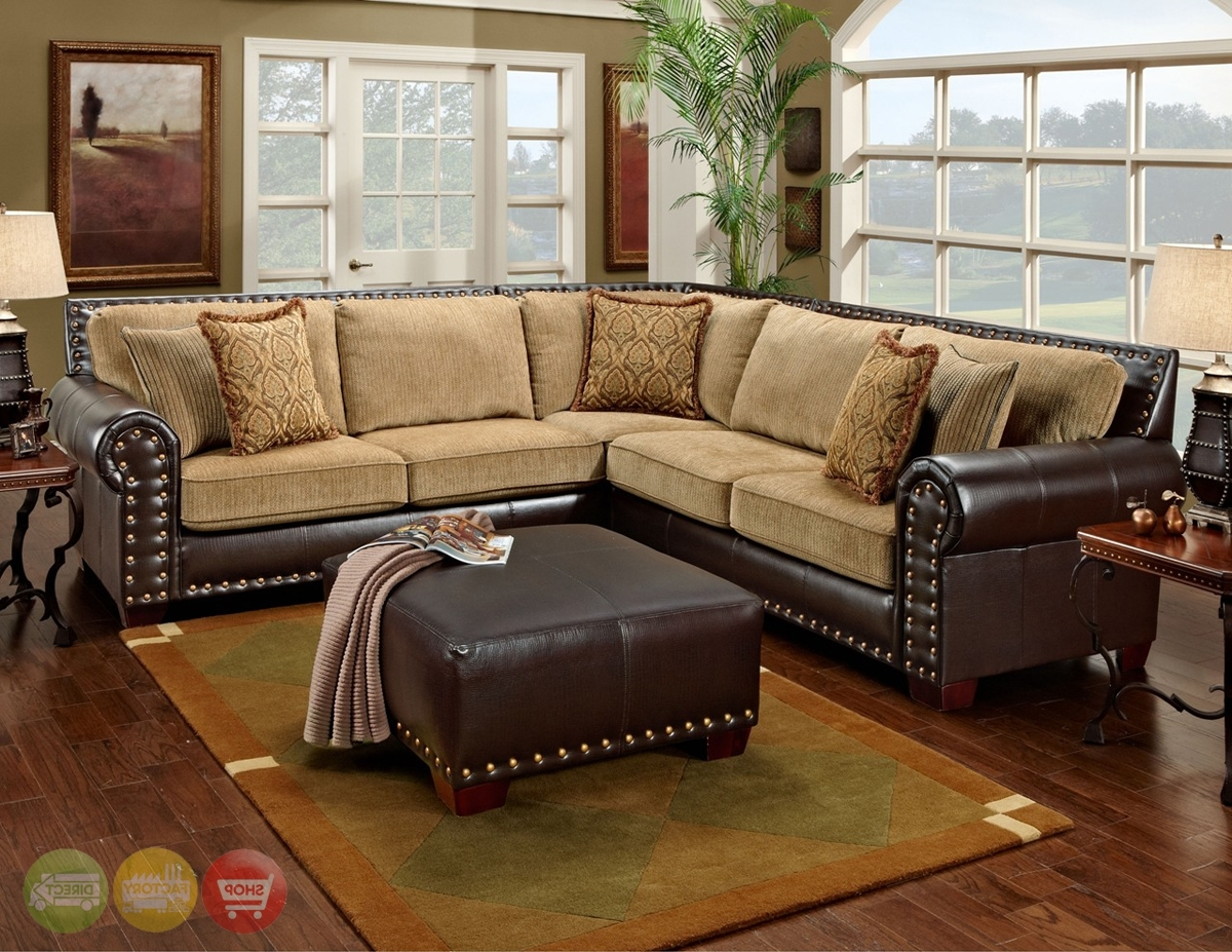 Traditional Brown & Tan Sectional Sofa W/ Nailhead Accents 650 17 With Best And Newest Sectional Sofas With Nailheads (View 18 of 20)