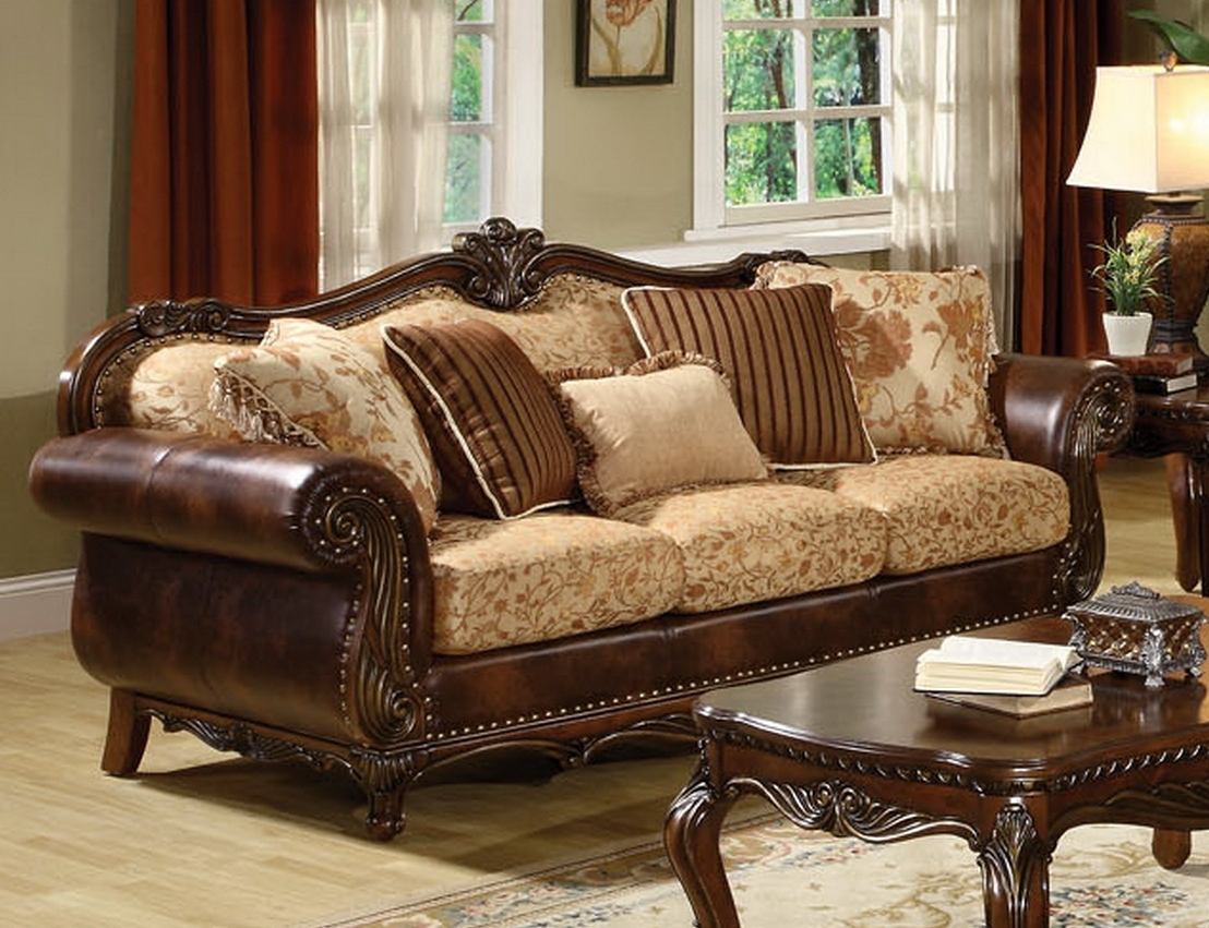Traditional Fabric Sofas Throughout Most Popular Remington Traditional 3 Pc Bonded Leather And Fabric Sofa Set (View 4 of 20)