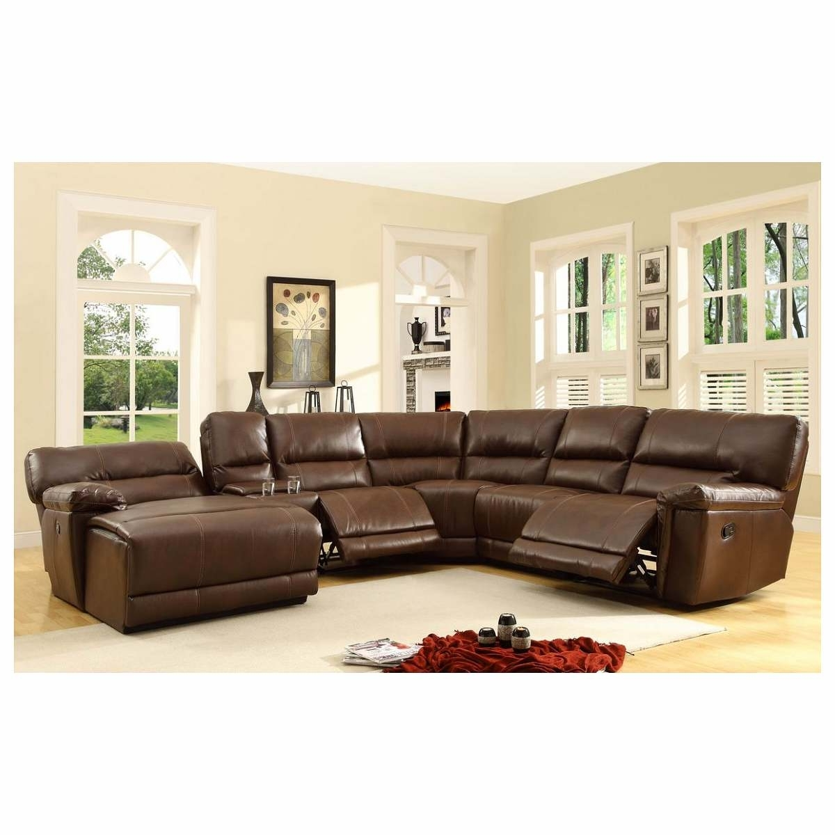 Trendy 6 Pc Blythe Collection Brown Bonded Leather Match Upholstered Within 6 Piece Leather Sectional Sofas (View 20 of 20)