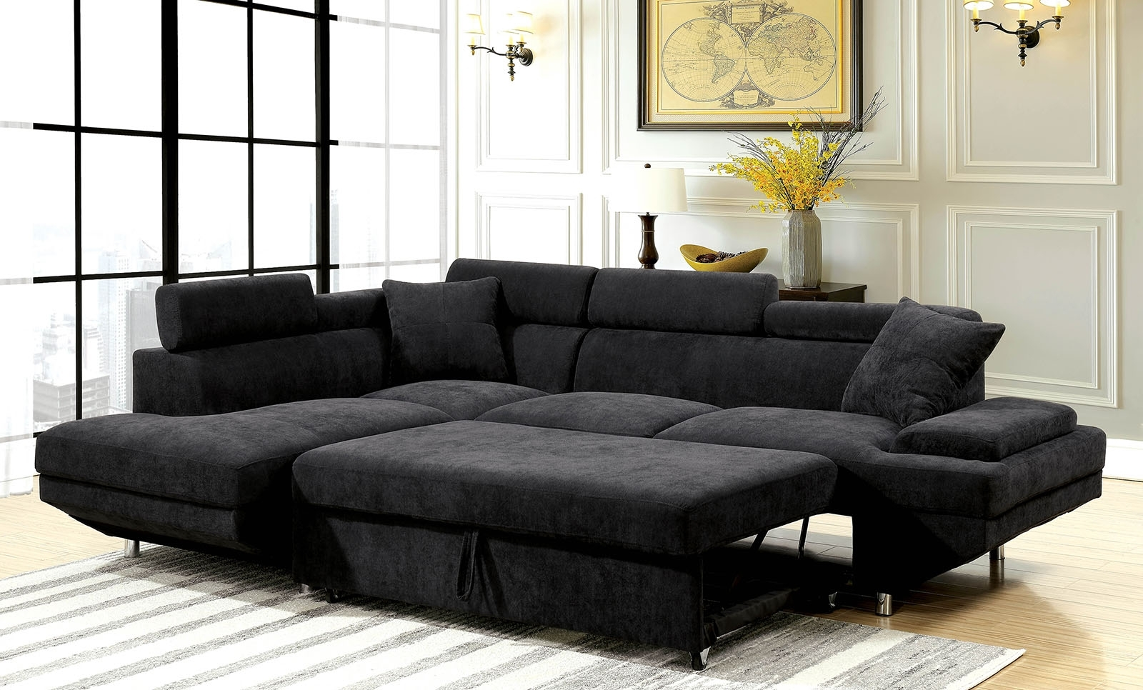 Trendy Adjustable Sectional Sofas With Queen Bed For Foreman Black Flannelette Fabric Sectional With Pull Out Bed (View 6 of 20)