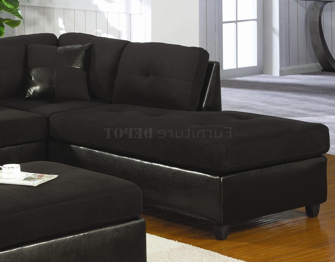 Trendy Black Microsuede Couch (Gallery 12 Of 20)