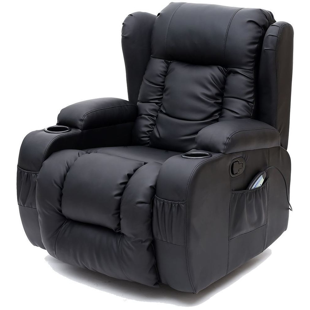 Trendy Caesar Black Winged Leather Recliner Chair Rocking Massage Swivel For Gaming Sofa Chairs (View 4 of 20)