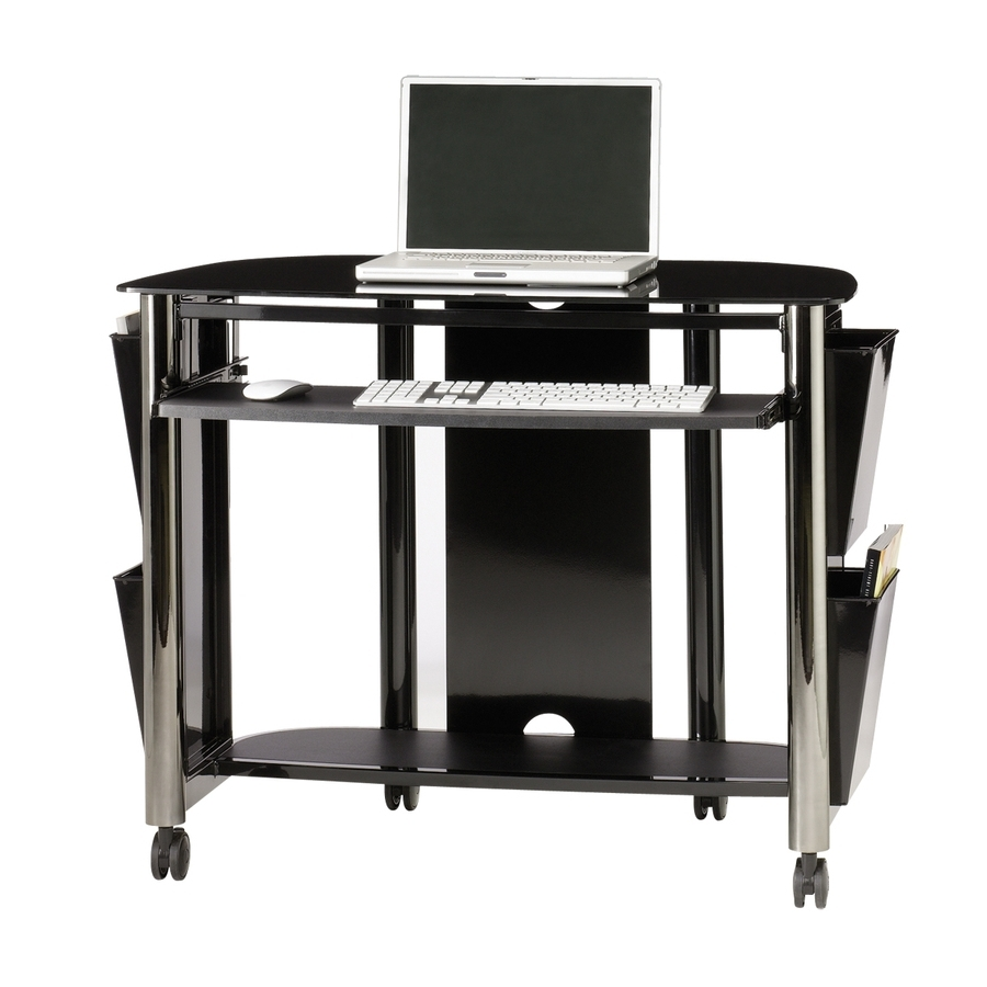 Trendy Computer Desks At Lowes With Regard To Shop Sauder Chroma Black Chrome/black Glass Computer Desk At Lowes (View 19 of 20)