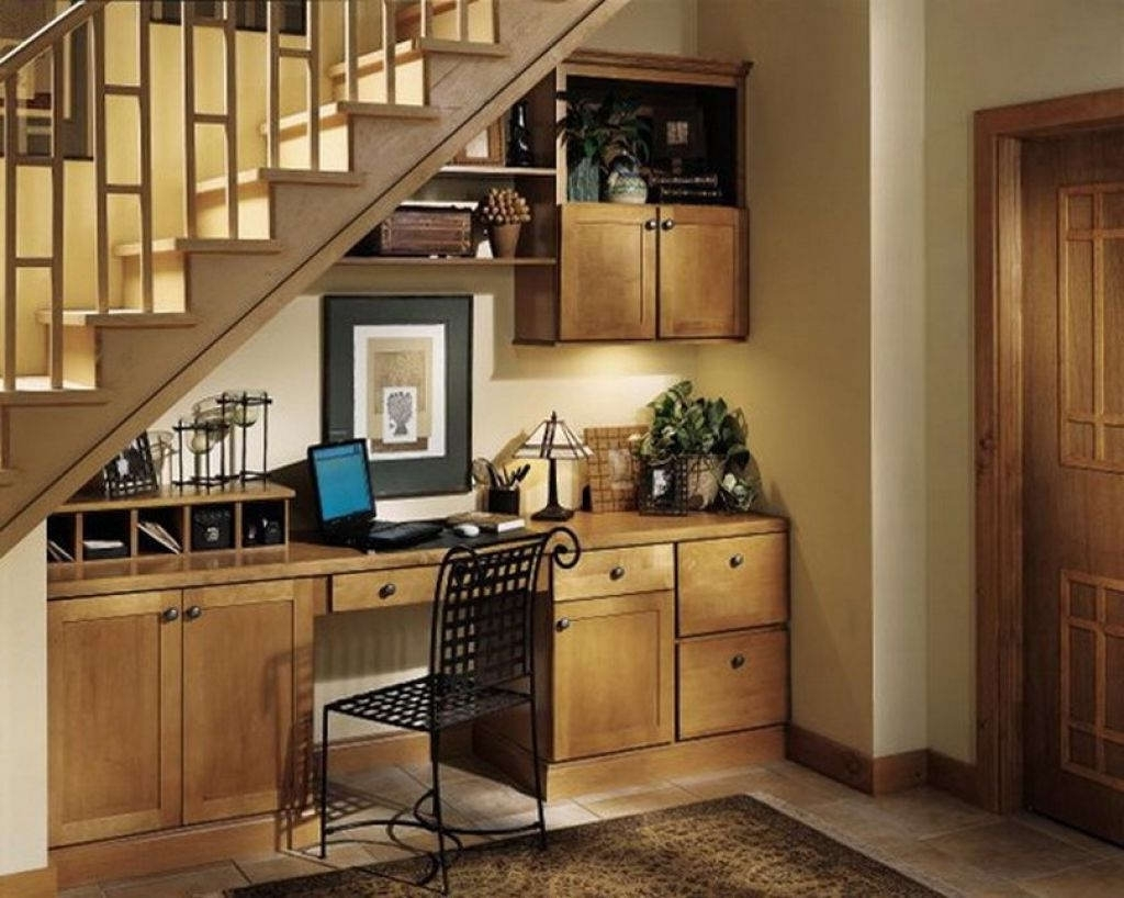 Trendy Computer Desks Under Stairs Within Furniture : Elegant Storage Under Stair Decor With Small Brown (View 17 of 20)
