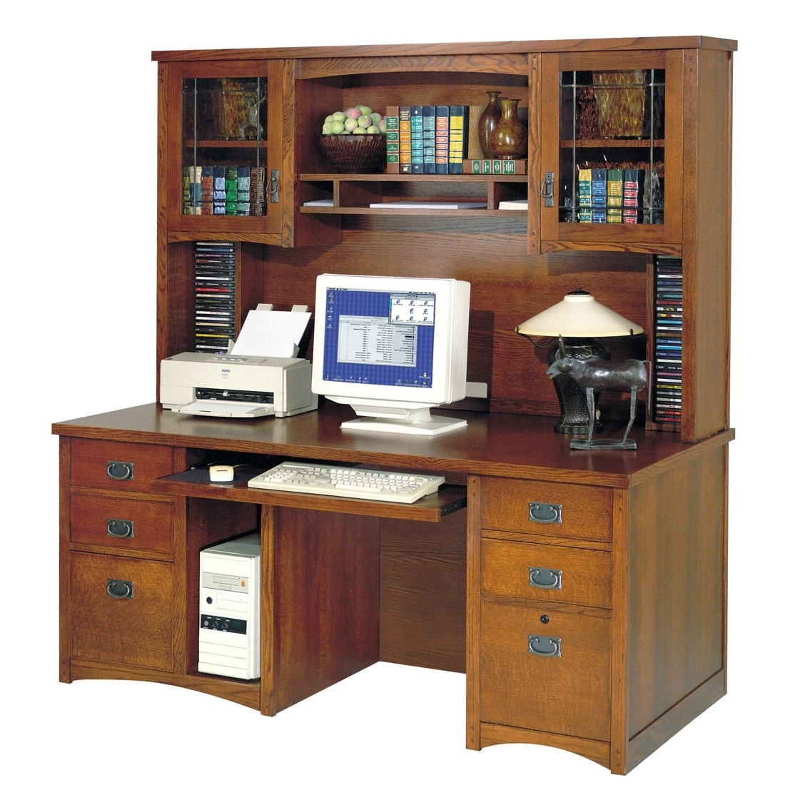 Trendy Cream Wooden Computer Desk With Single Hutch Above The Storage With Computer Desks With Hutch (View 12 of 20)