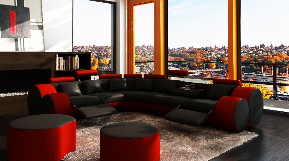 Trendy Divani Casa 3087 – Modern Black And Red Bonded Leather Sectional With Regard To Red Sectional Sofas (View 17 of 20)