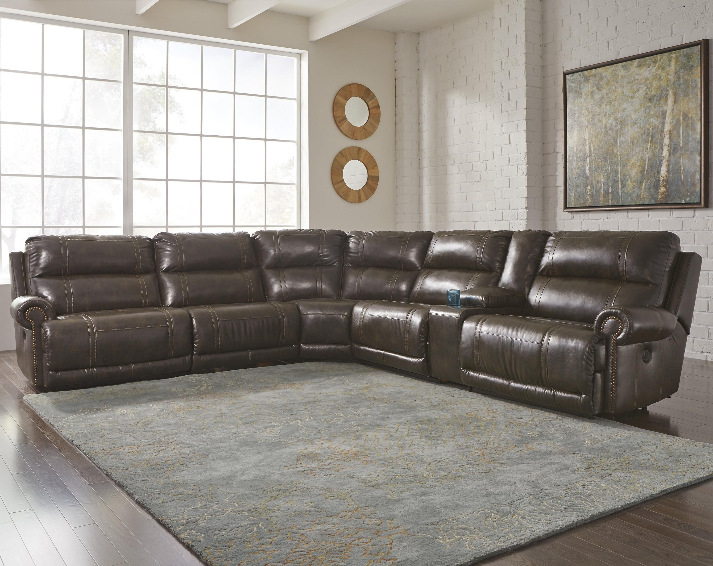 Trendy Eau Claire Wi Sectional Sofas Regarding Dak Durablend® 6 Piece Reclining Sectionalsignature Design (View 14 of 20)