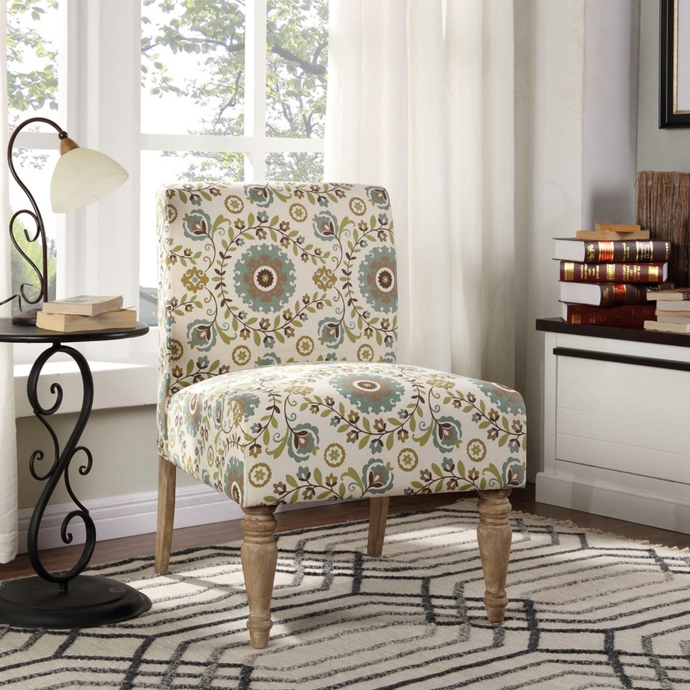 Trendy Floral Sofas And Chairs Intended For Anchanting Armless Chair With Floral Pattern In White Base Fabric (View 18 of 20)