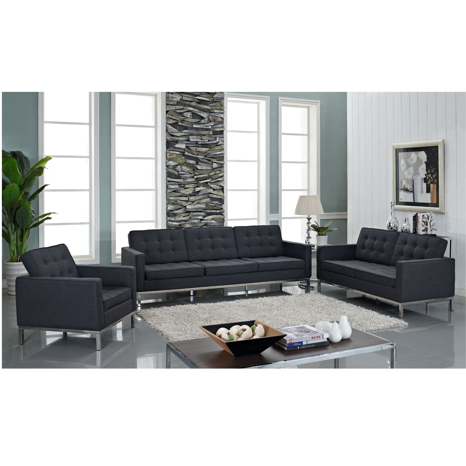 Trendy Florence Sofas And Loveseats Inside Florence Knoll Style Sofa Couch – Wool (View 17 of 20)