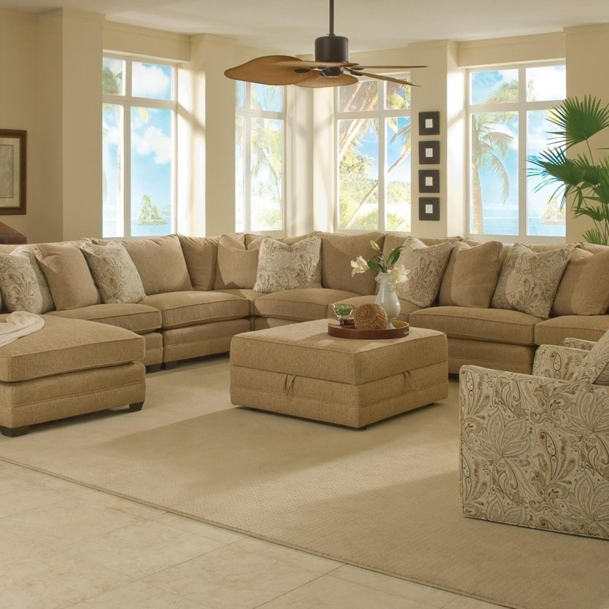 Trendy Furniture: Enchanting Large Room In Tan Color And Sectional Sofa In Deep Seating Sectional Sofas (View 12 of 20)