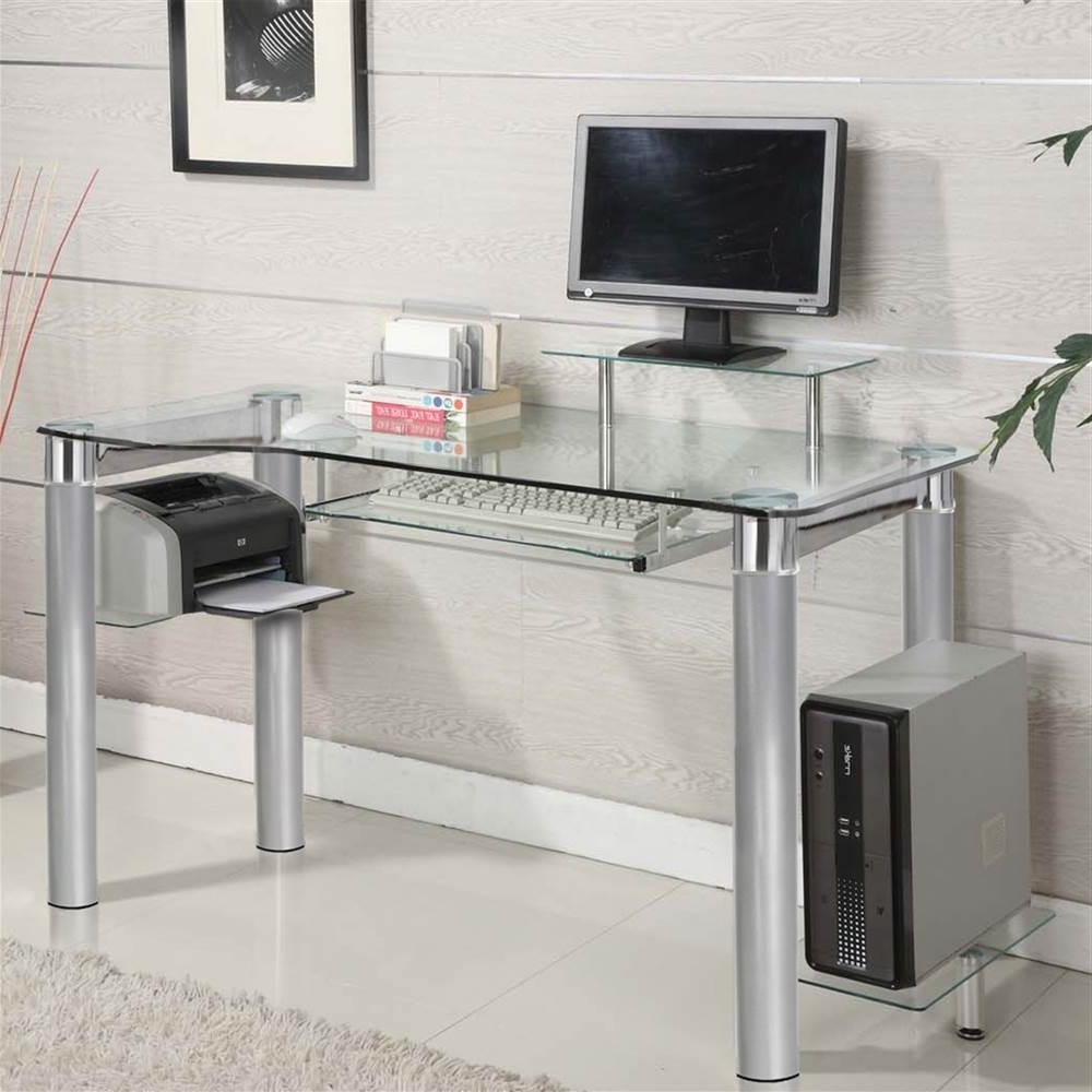 Trendy Glass Computer Desks For Innovex Saturn Clear Glass Pc Computer Desk – Walmart (View 9 of 20)