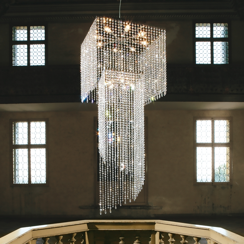 Trendy Large Modern Swarovski Crystal Stairwell Chandelier (View 18 of 20)