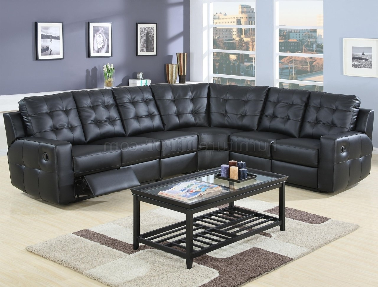 Trendy Leather Recliner Sectional Sofas Pertaining To Modern Leather Double Reclining Sectional Sofa 600315 Black (View 17 of 20)