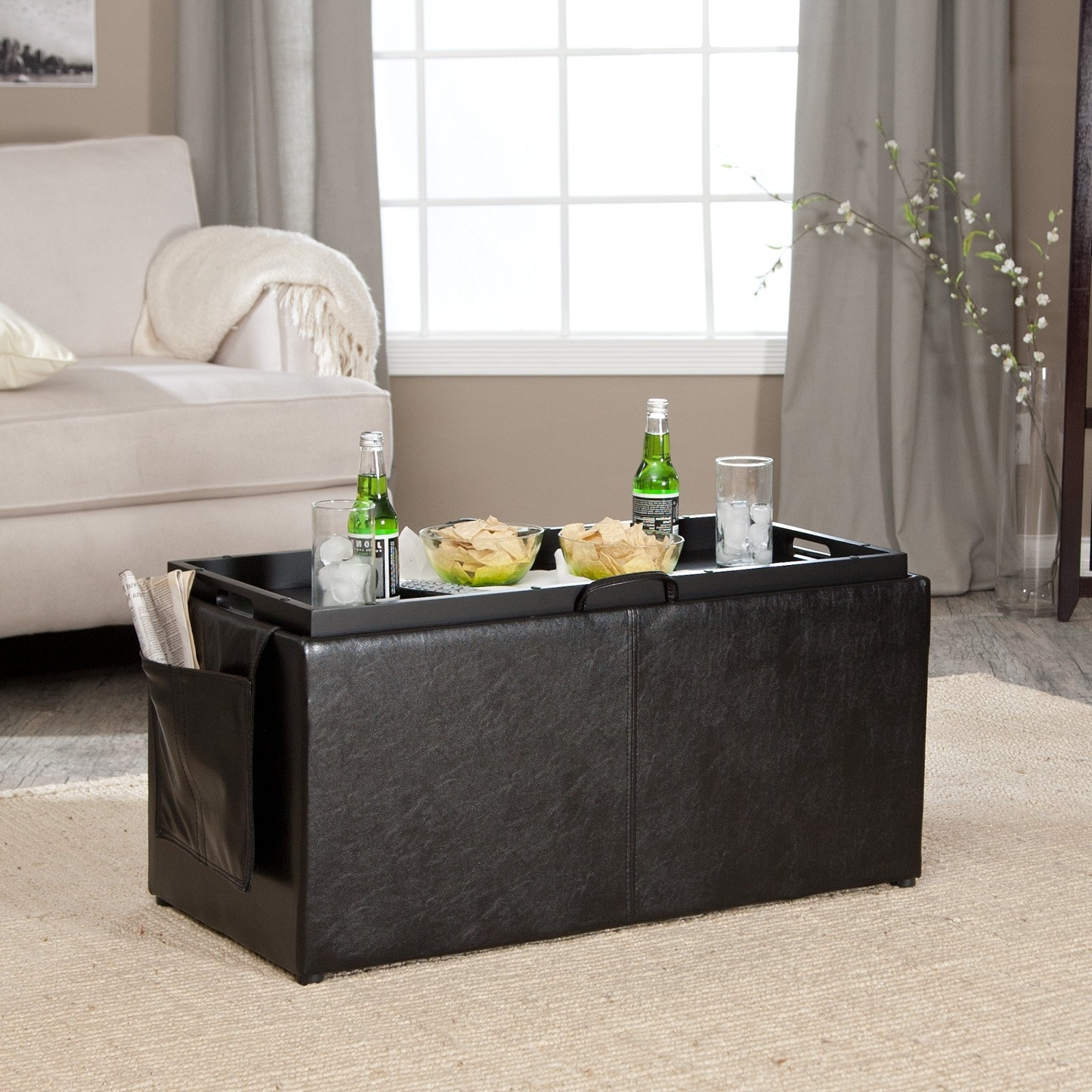 Trendy Ottomans With Tray With Furniture : Hartley Coffee Table Storage Ottoman With Tray Side (View 7 of 20)
