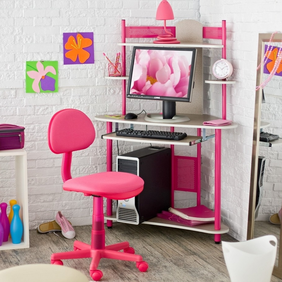 Trendy Pink Computer Desks Intended For Kids Corner Desk Pink — All Furniture : Trends And Models Of Kids (View 2 of 20)