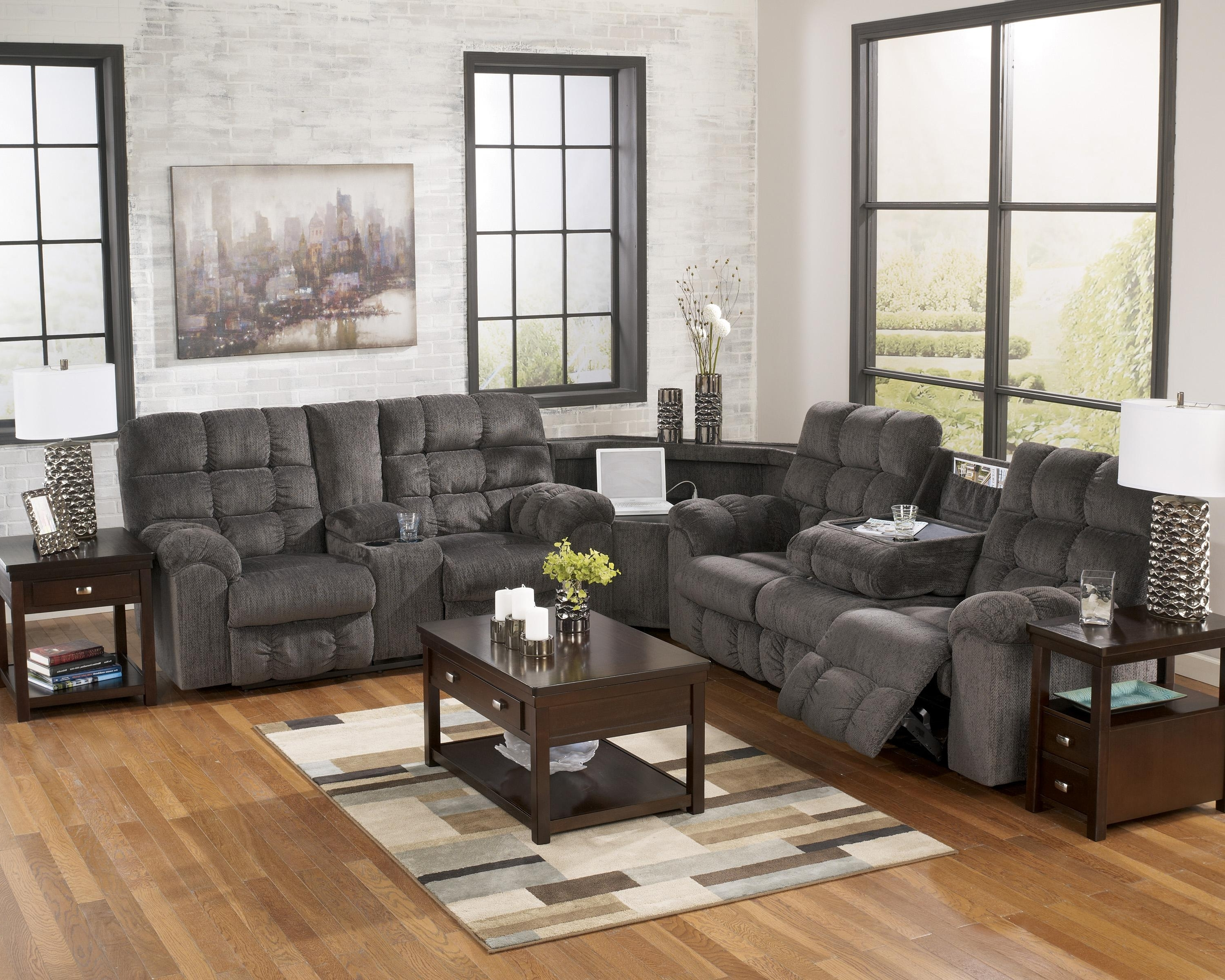 Trendy Reclining Sectional Sofa With Right Side Loveseat, Cup Holders And Within Las Vegas Sectional Sofas (View 15 of 20)