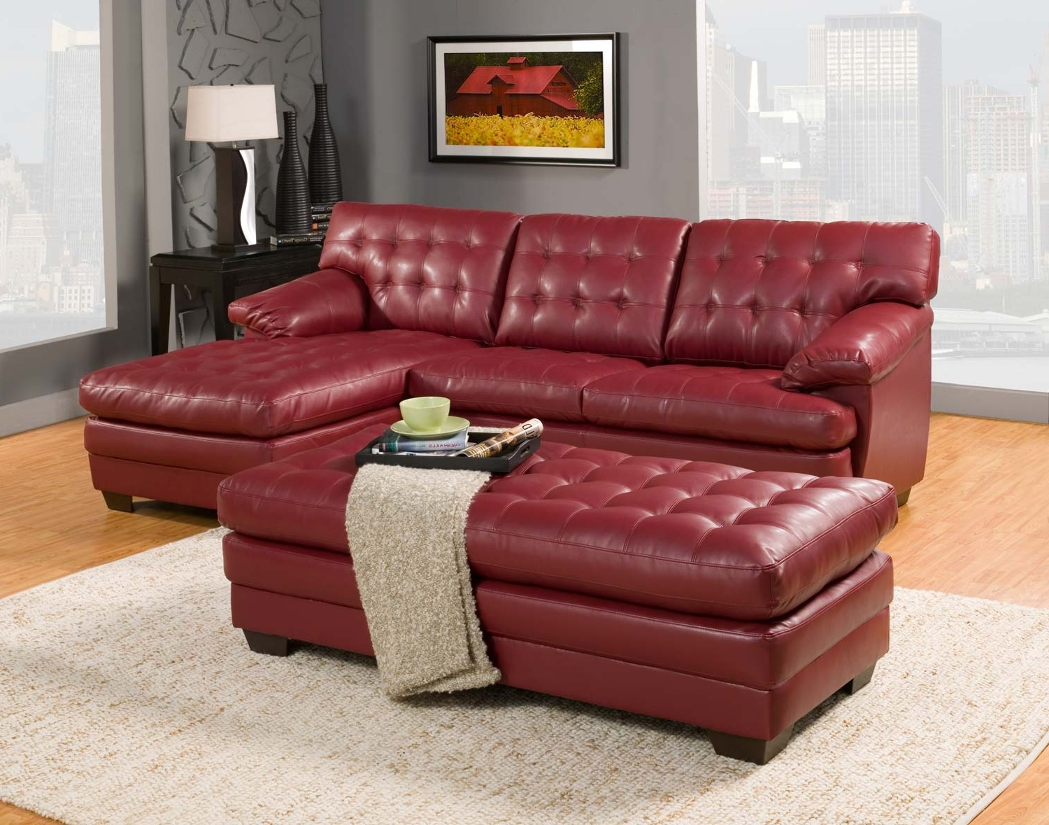 Trendy Red Leather Sectionals With Ottoman Inside Red Sectional Sofa With Ottoman (View 17 of 20)