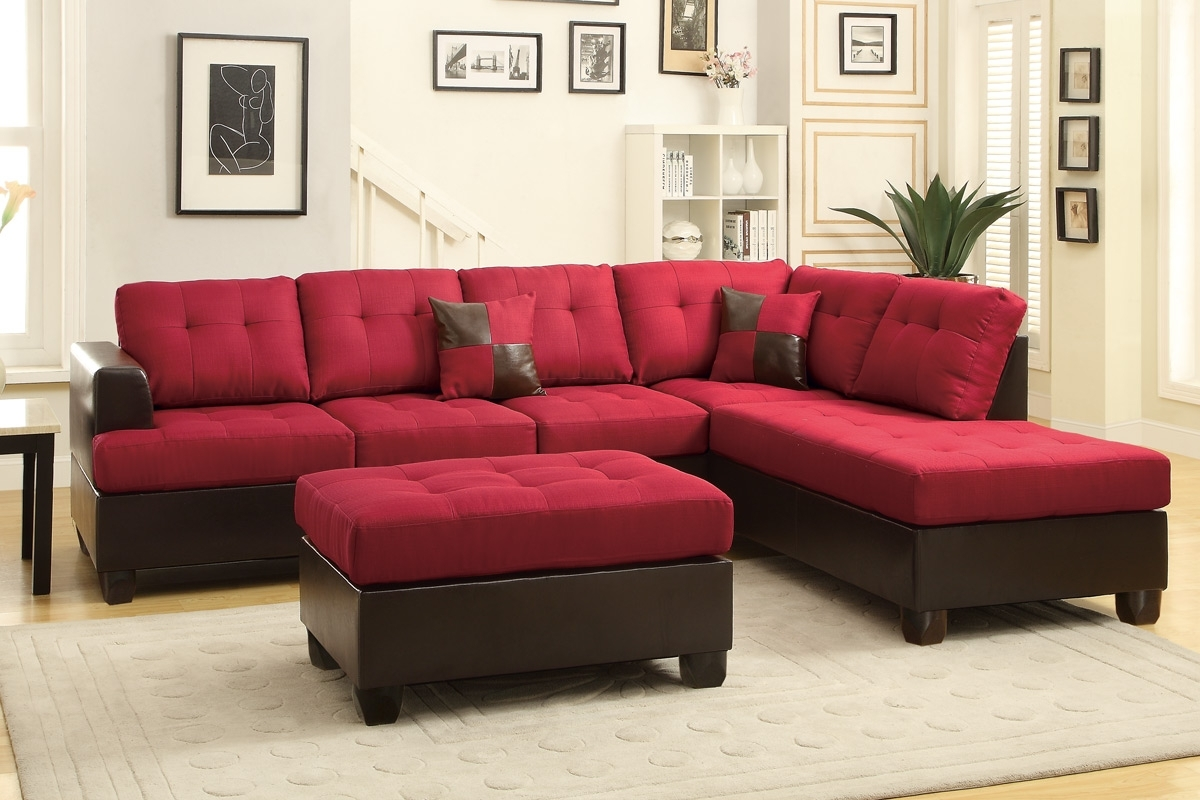 Trendy Red Sectional Sofas Regarding Red Leather Sectional Sofa And Ottoman – Steal A Sofa Furniture (View 8 of 20)