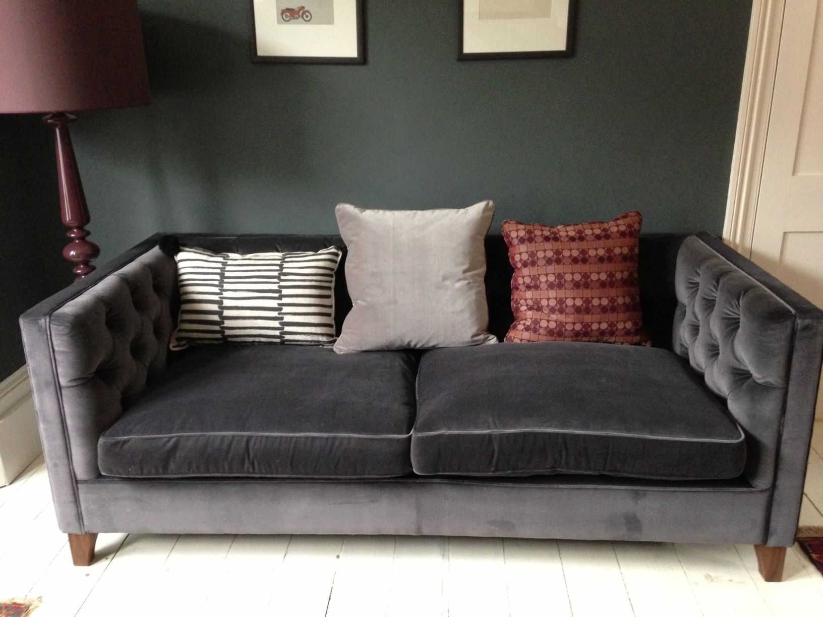 Trendy Scarborough Sectional Sofas Regarding Grey Velvet Sofa (View 19 of 20)