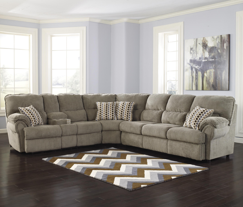 Trendy Signature Designashley Comfort Commandor – Mocha Sectional W In Peterborough Ontario Sectional Sofas (View 4 of 20)