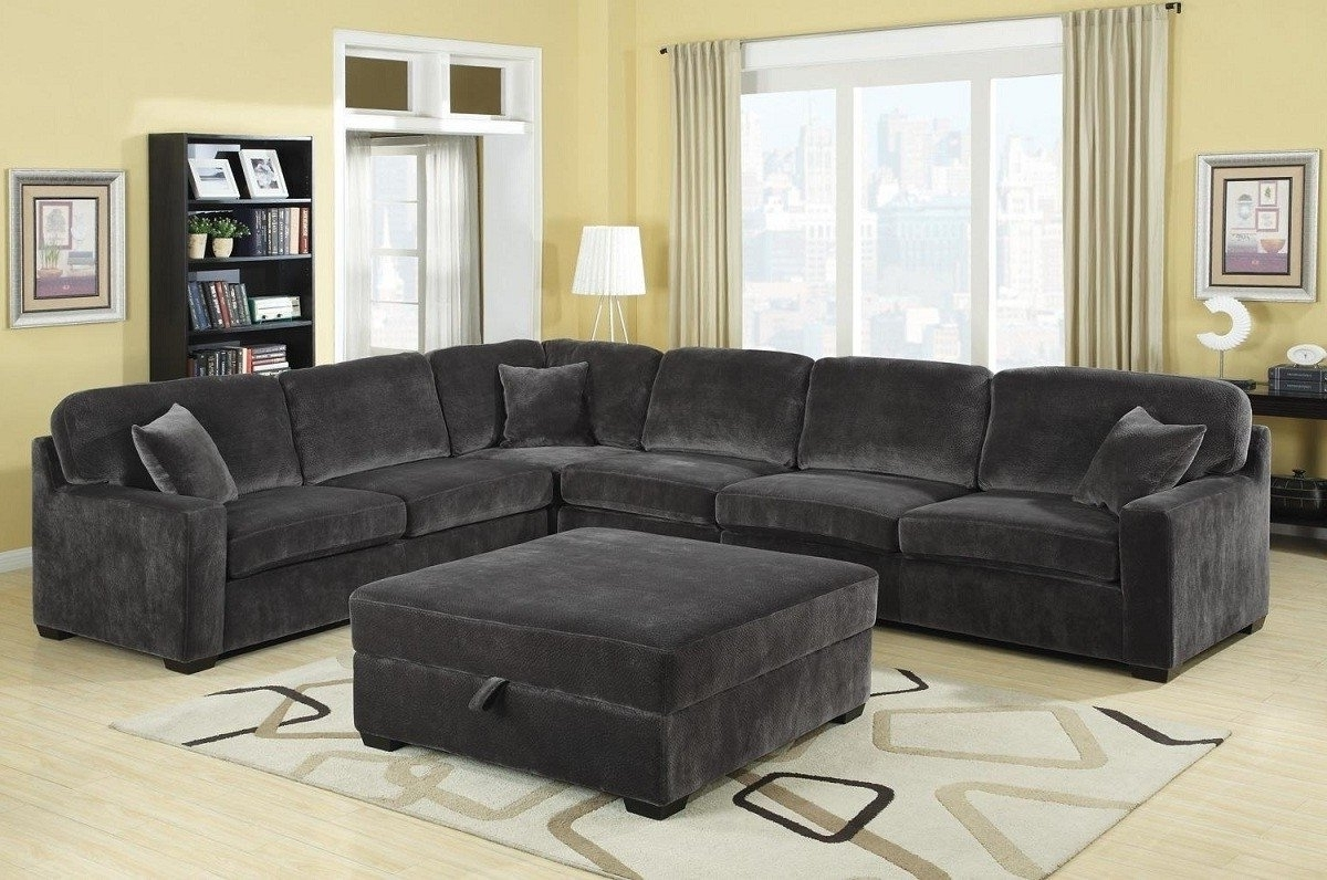 Trendy Simple Grey Sectional Couches Sofa Sofas Cocktail Ottoman For With With Regard To Sectional Couches With Large Ottoman (View 18 of 20)