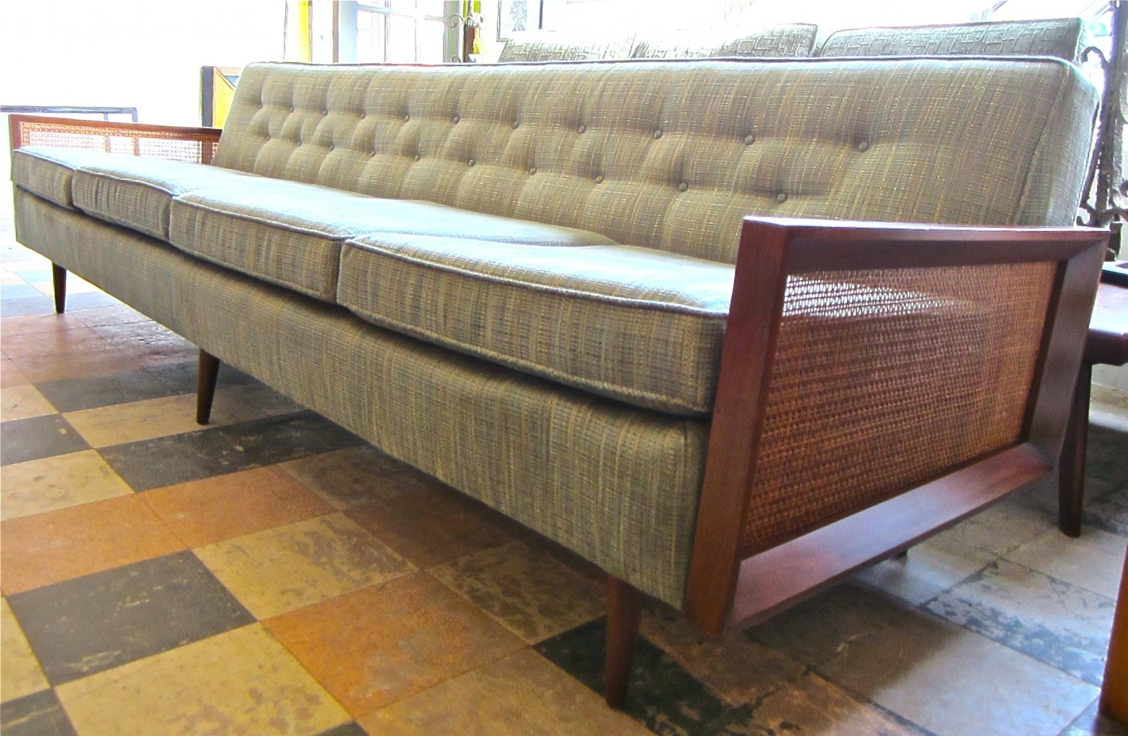 Trendy Sofa : Furniture: Mid Century Modern Wood Frame Extra Long Bench Throughout Long Modern Sofas (View 10 of 20)