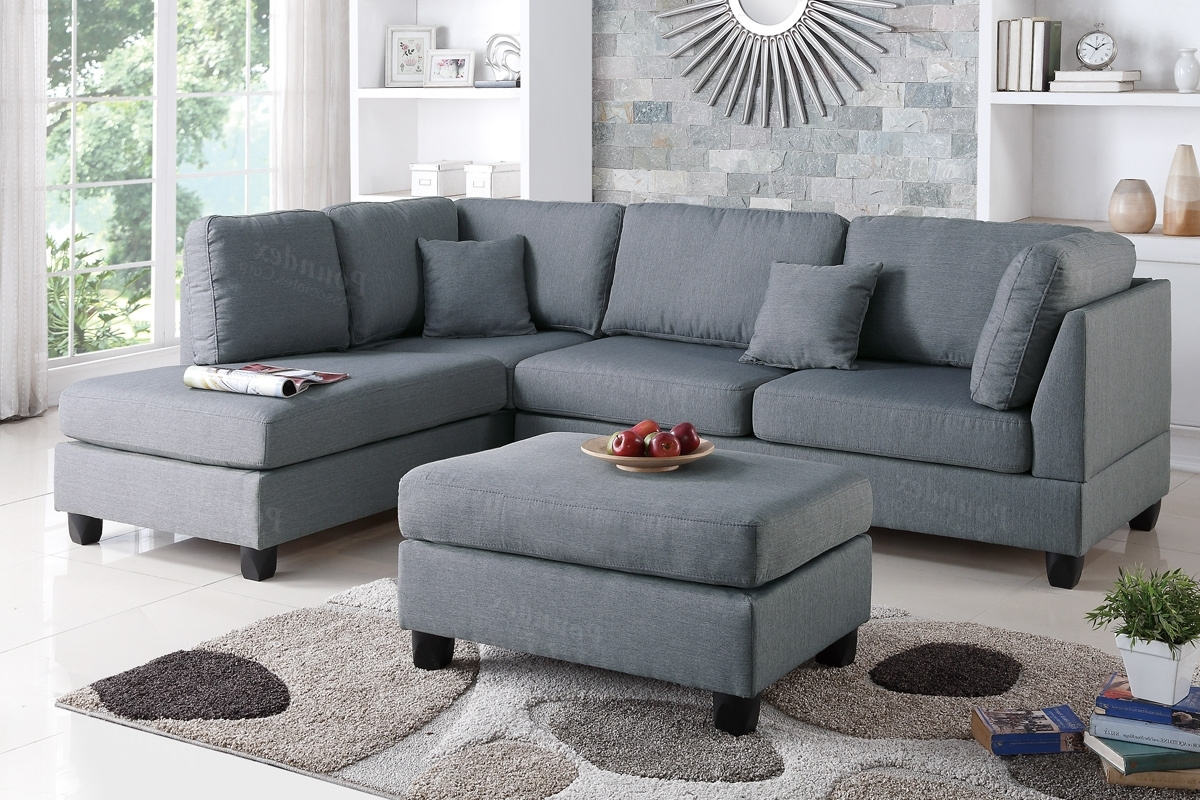 Trendy Sofas With Ottoman Pertaining To Poundex Bobkona F7606 Grey Reversible Chaise Sectional Sofa & Ottoman (View 18 of 20)