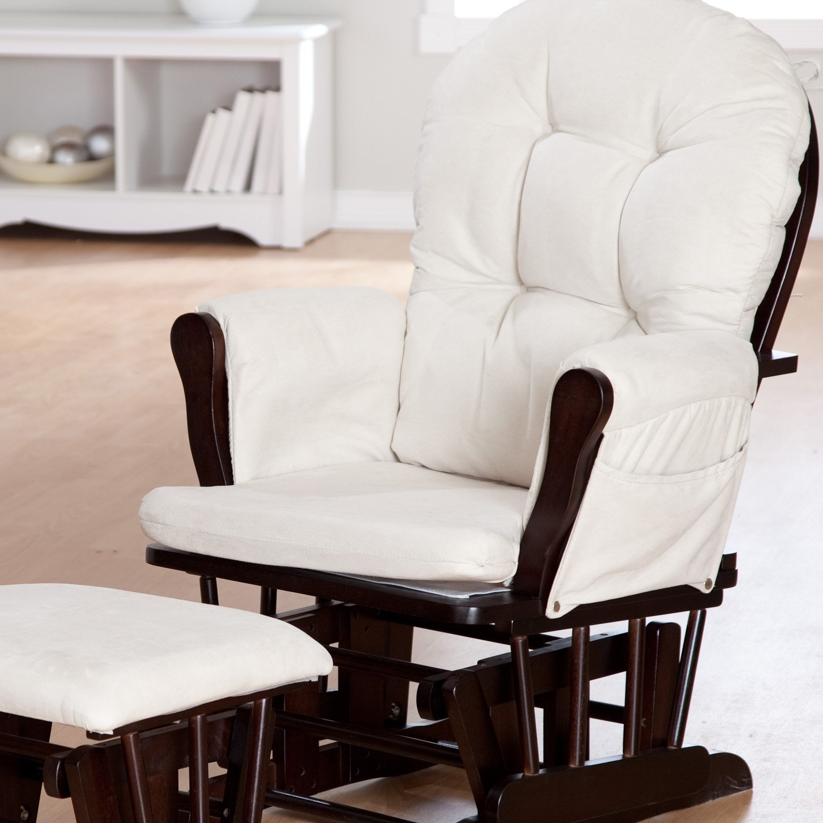Trendy Storkcraft Bowback Glider And Ottoman Set – Espresso/beige (View 4 of 20)