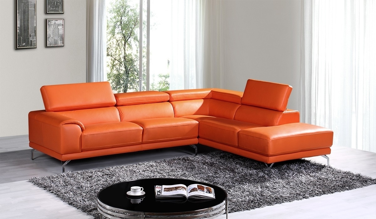 Trendy Stylish Orange Leather Sectional Sofa – Mediasupload For Orange Sectional Sofas (View 19 of 20)