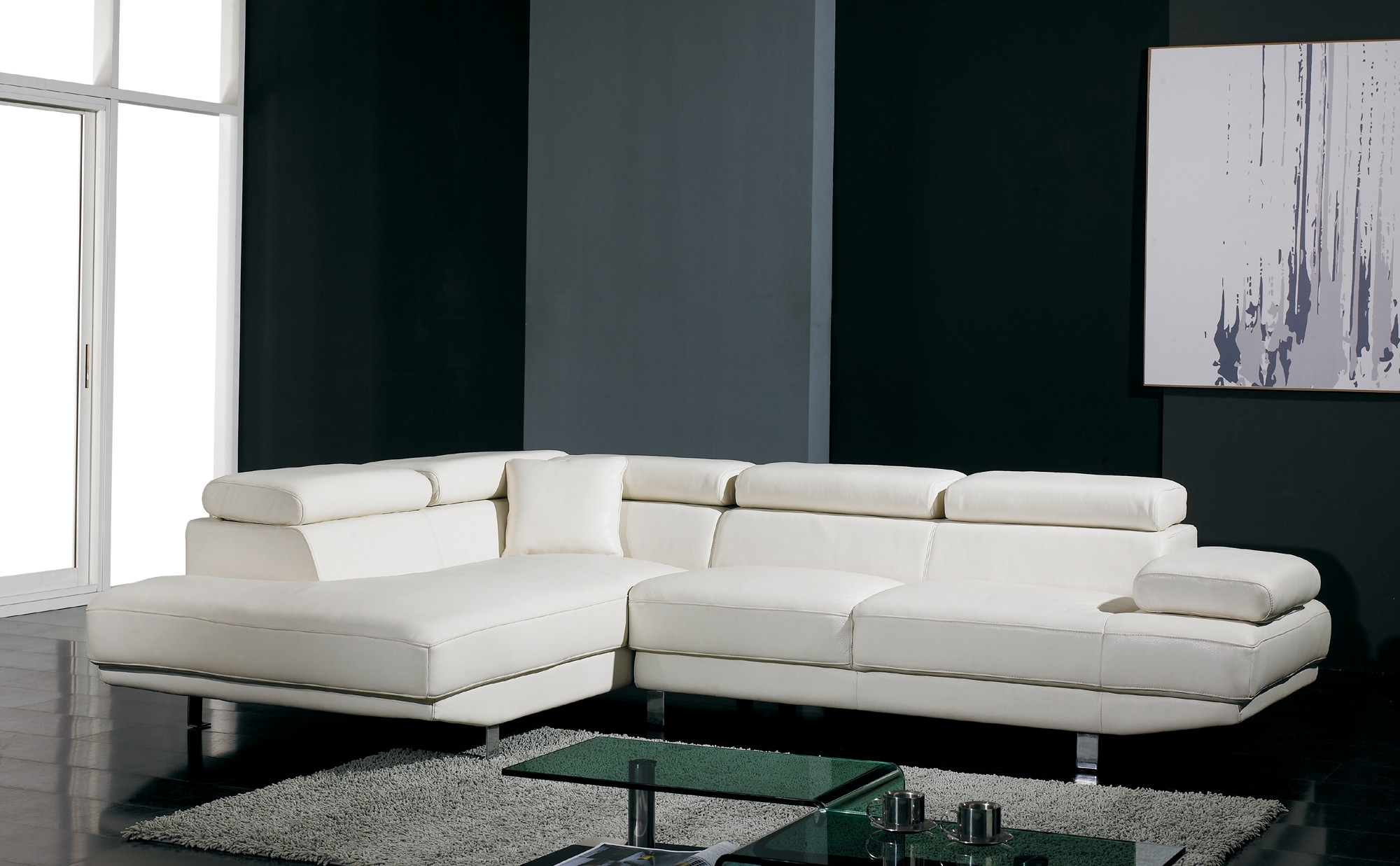 Trendy T60 Ultra Modern White Leather Sectional Sofa Regarding White Sectional Sofas (View 4 of 20)