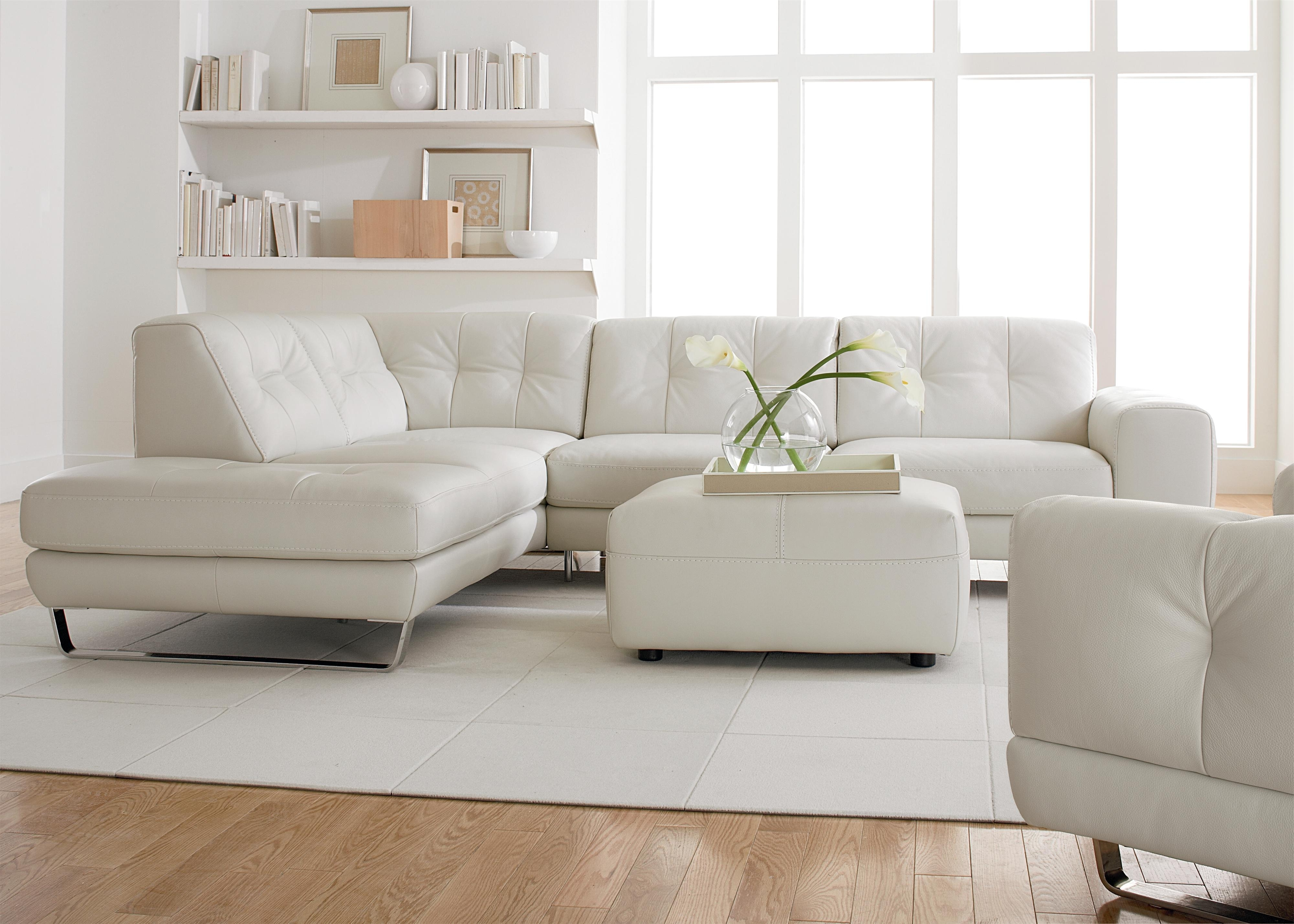 Trendy Tufted Sectional Sofas With Chaise Throughout Simple Modern Minimalist Living Room Decoration With White Leather (View 18 of 20)