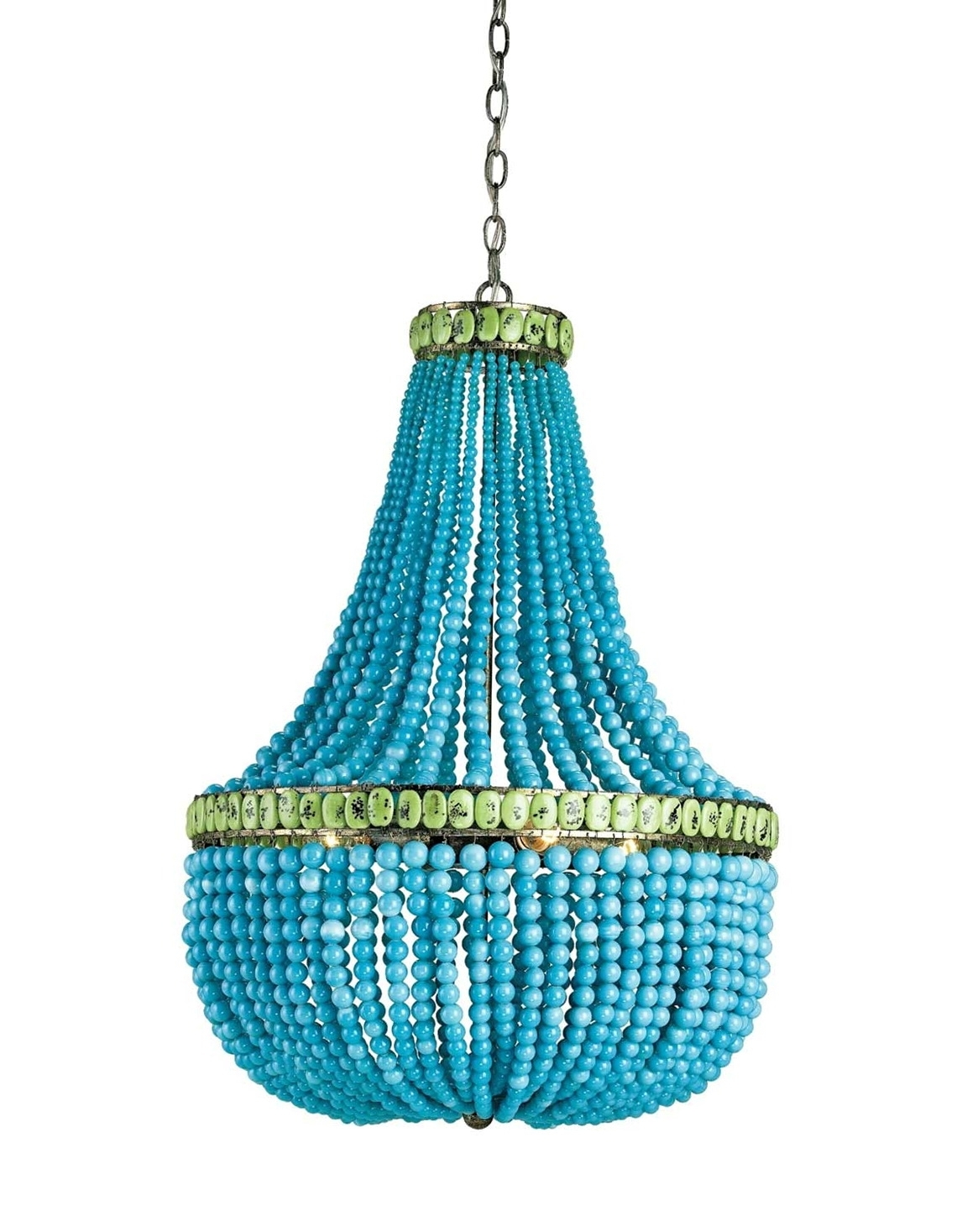Trendy Turquoise Wood Bead Chandelier (View 16 of 20)